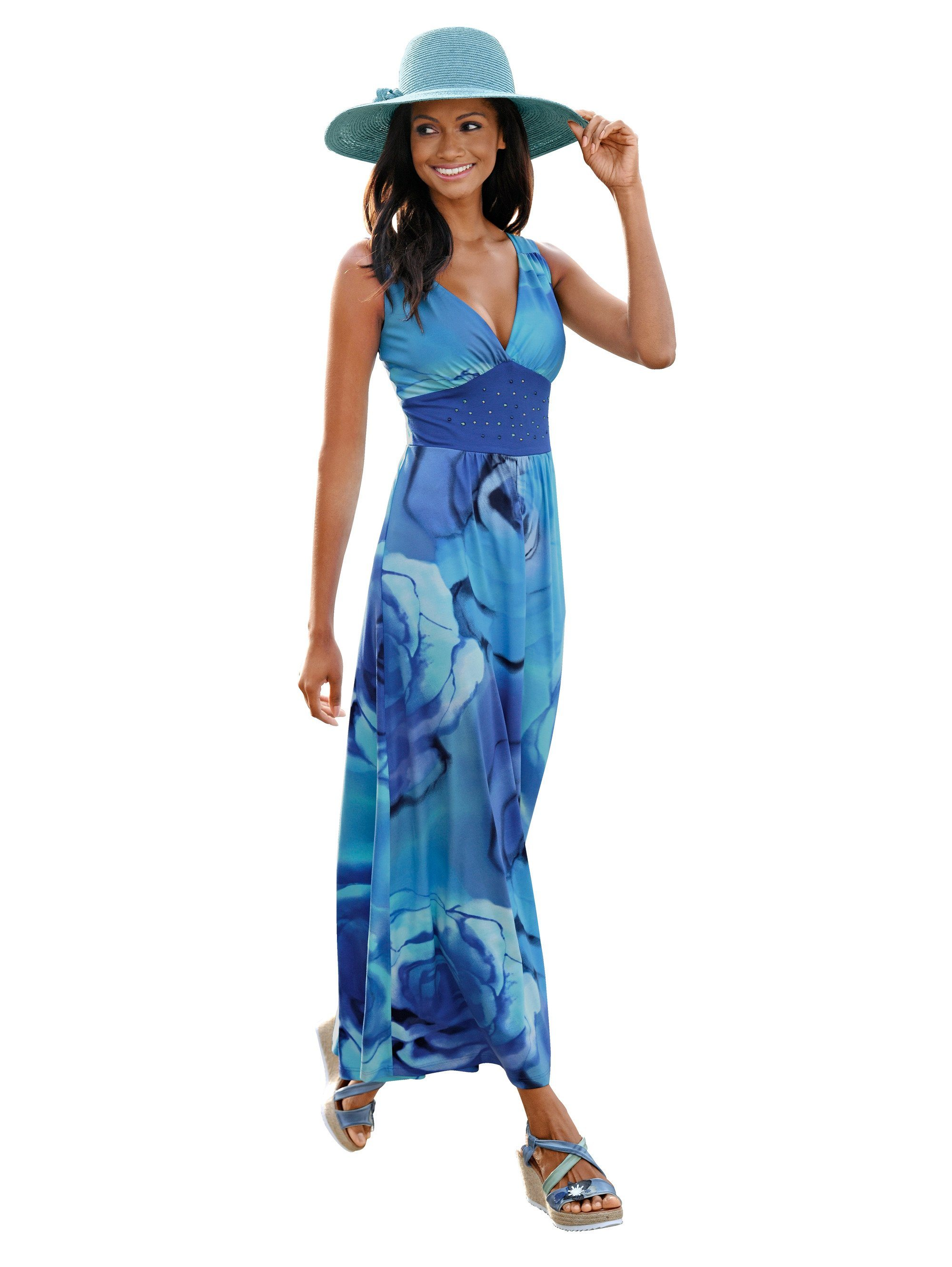 Damen Alba Moda Strandkleid mit großem Blumendruck blau | 04055715325500