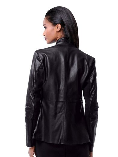 Alba Moda Leather Jacket Made Of Soft Goat Suede