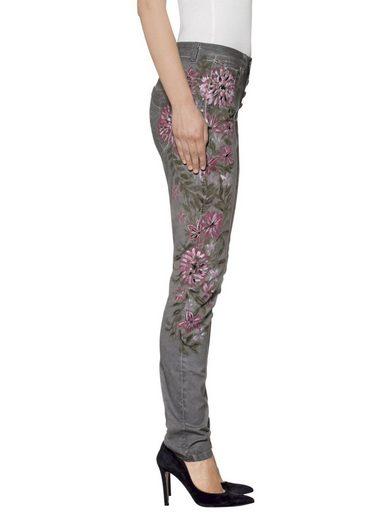Alba Moda Hose mit handgemalten Blumenmotiven