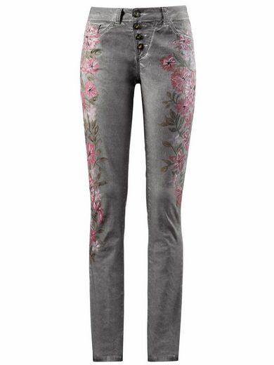 Alba Moda Pants Avec Des Motifs Floraux Peints À La Main
