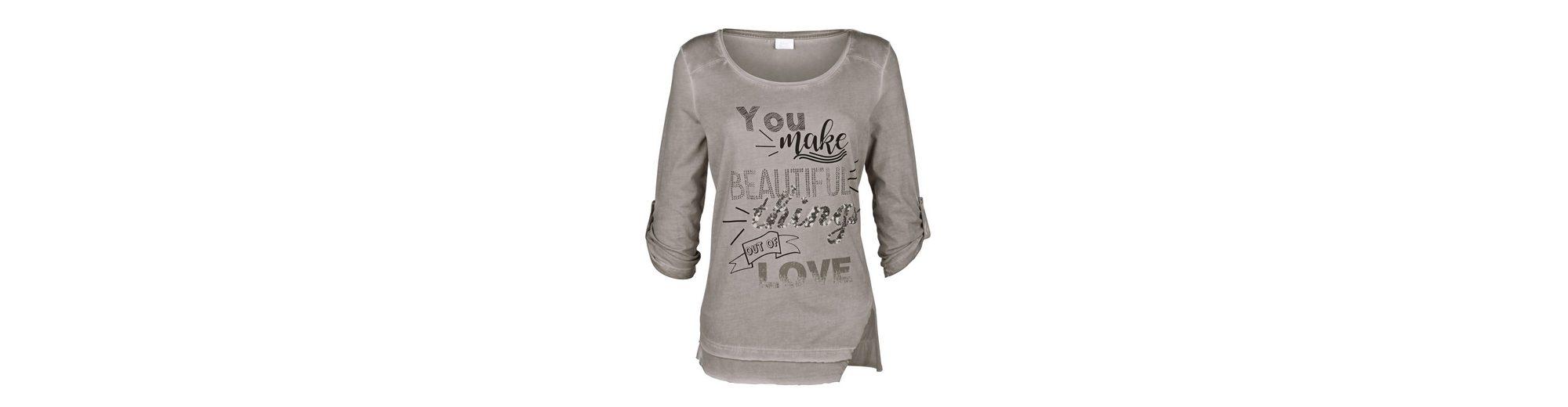 Alba Moda Shirt mit Schriftprints und Nieten Verkauf Veröffentlichungstermine Beste Online Exklusive Online wUgLMcCAF4