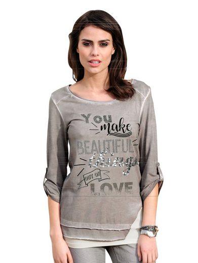 Alba Moda Shirt mit Schriftprints und Nieten