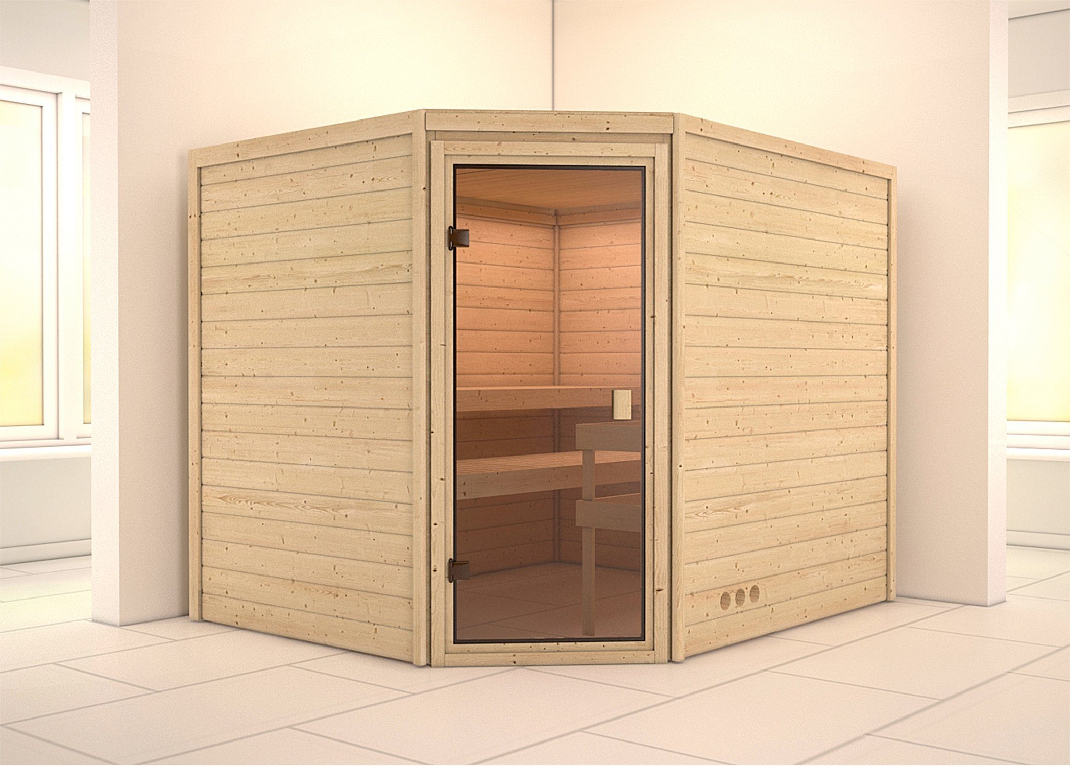 Sauna »Leah«, 213/196/187 cm, 9-KW-Ofen mit ext. Steuerung