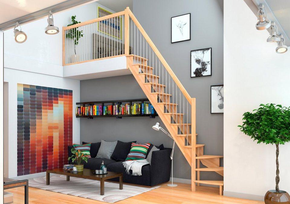 dolle raumspartreppe lyon buche 1 4 links gewendelt holz metallgel nder online kaufen otto. Black Bedroom Furniture Sets. Home Design Ideas