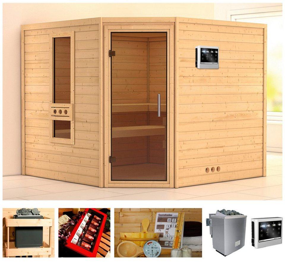 konifera sauna melika 259 245 191 cm 38 mm 9 kw bio kombiofen mit ext steuerung online. Black Bedroom Furniture Sets. Home Design Ideas