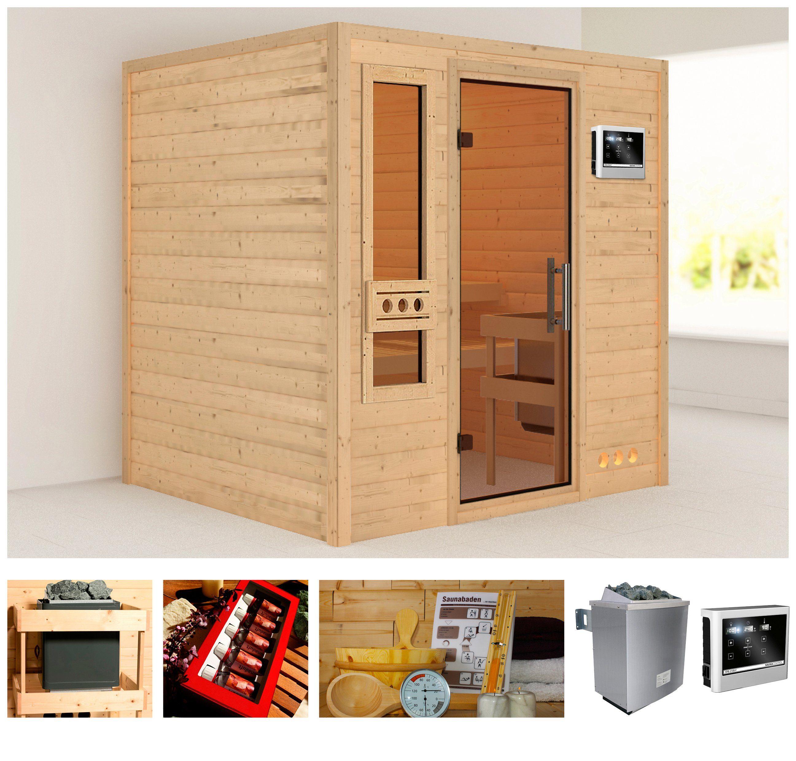 KONIFERA Sauna »Rissani«, 224/184/191 cm, 38 mm, 9-kW-Ofen mit ext. Steuerung
