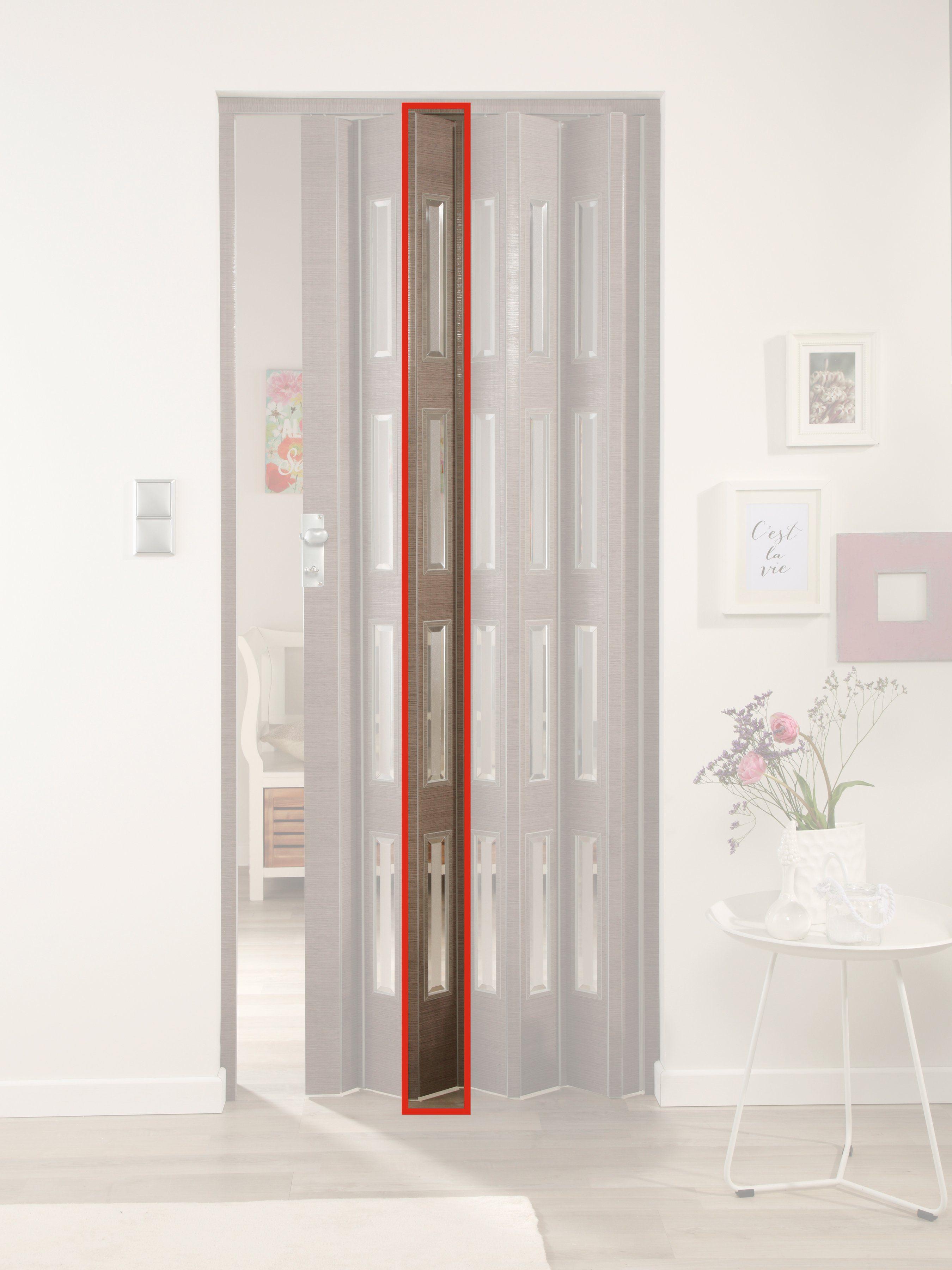 FORTE Türerweiterung , Zusatzlamelle für Falttür »Elvira«, eiche taupe + 4 Fenster