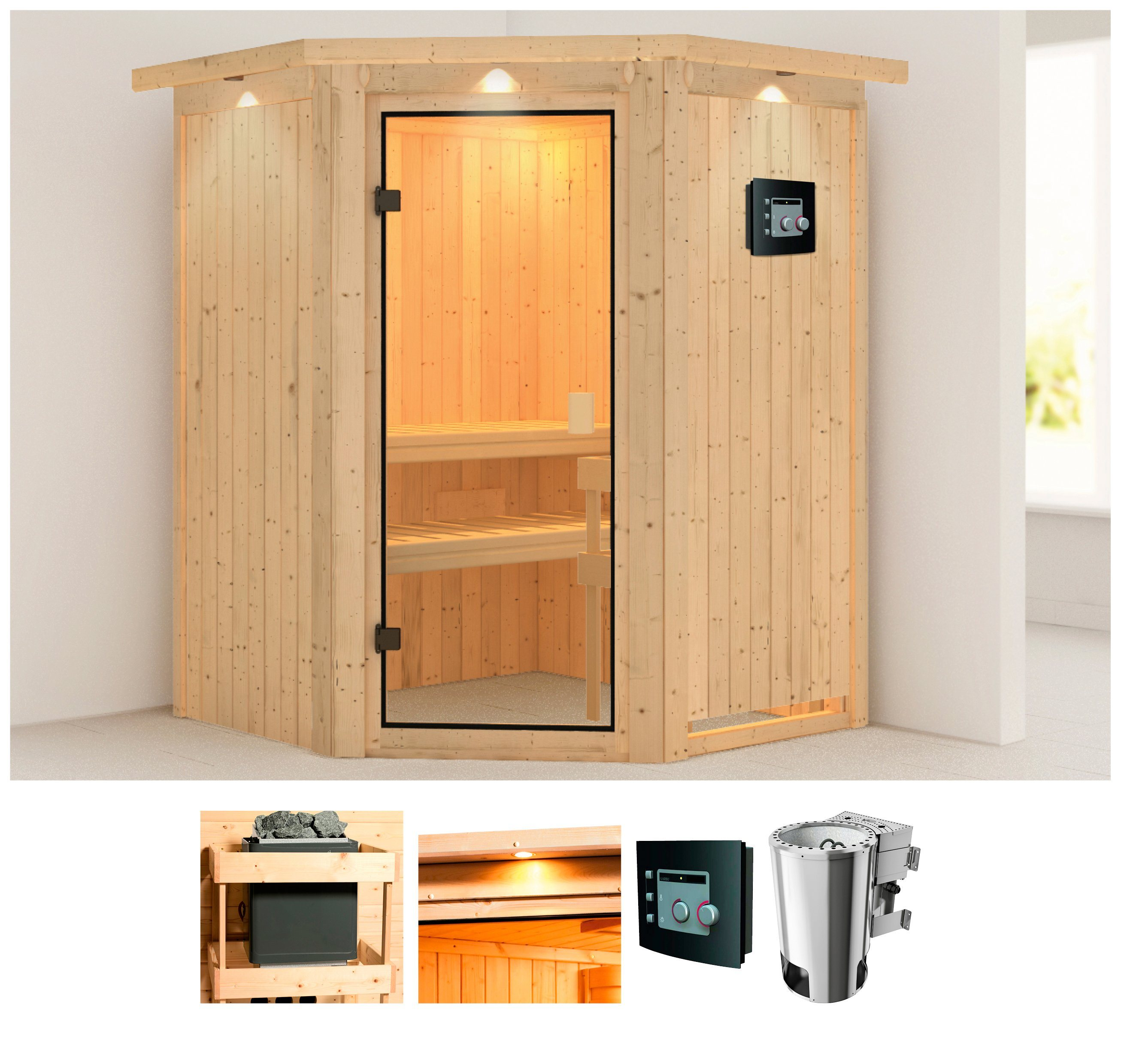 Sauna »Kristin«, 151/198/151 cm, 68 mm, 3,6-KW Bio-Kombiofen