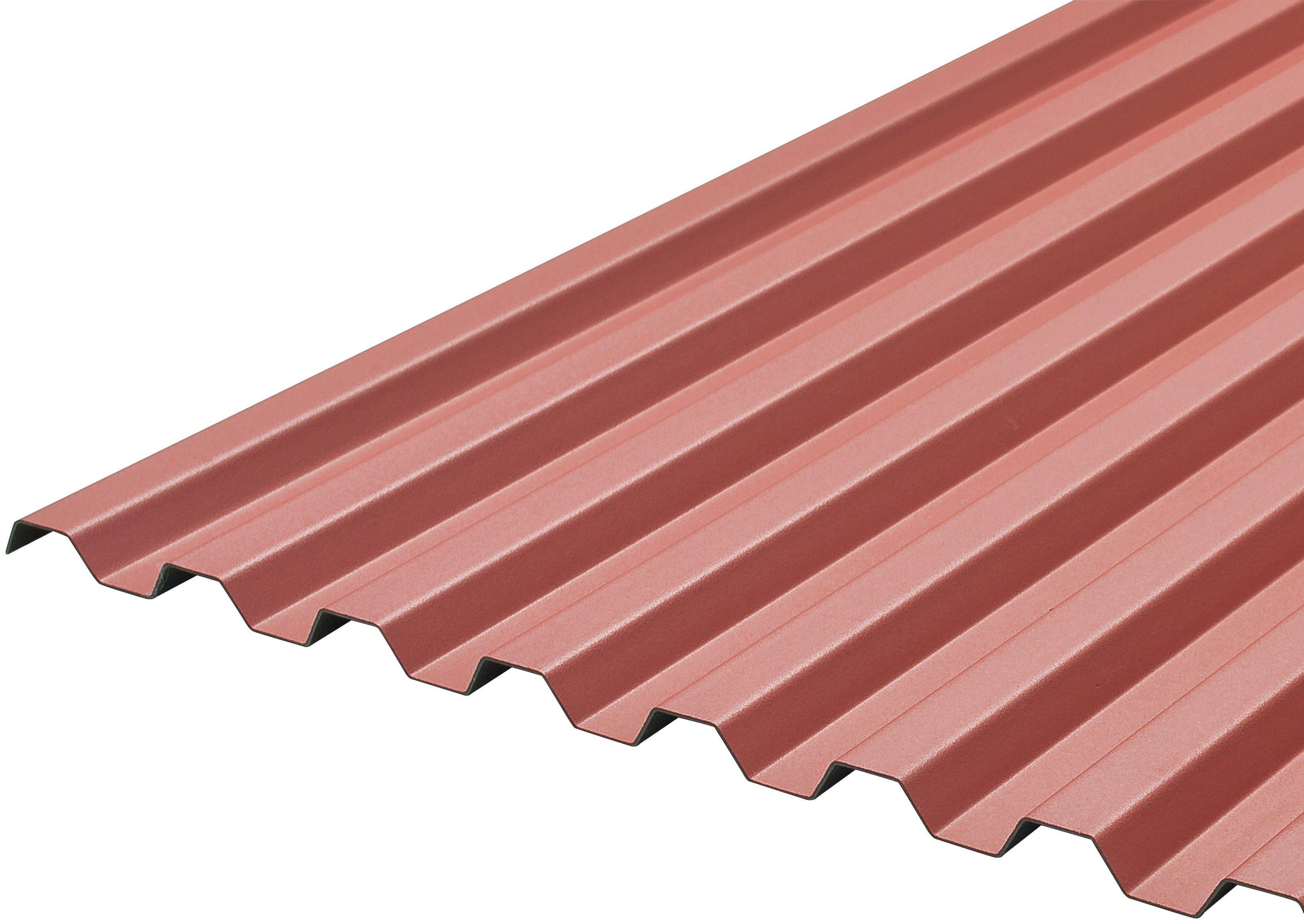 Wellplatte »WSP 70/18 trapez«, rot, 9,6 m², inkl. Befestigung