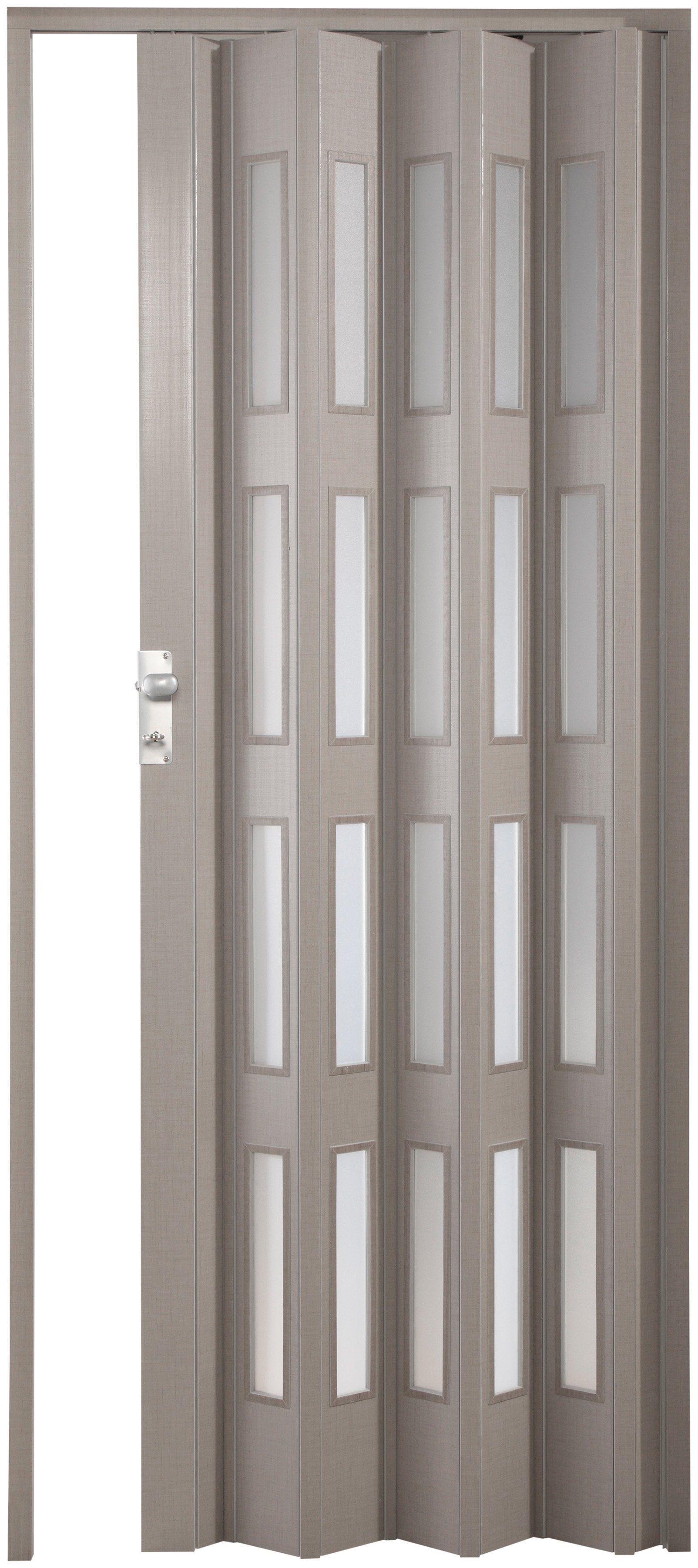 FORTE Kunststoff-Falttür »Elvira«, grau gewebt, mit 4 satinierten Fenstern