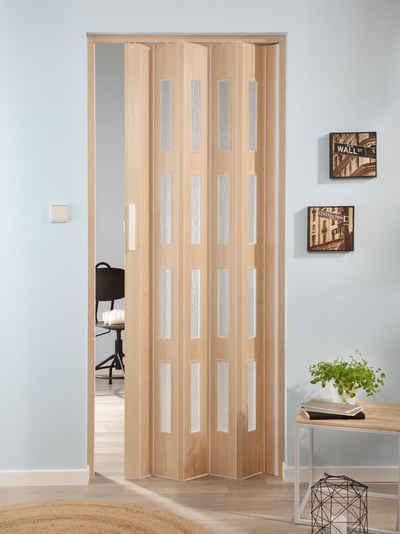 FORTE Kunststoff Falttür »Luciana«, Esche Holz, Mit 4 Fenstern In  Riffelstruktur