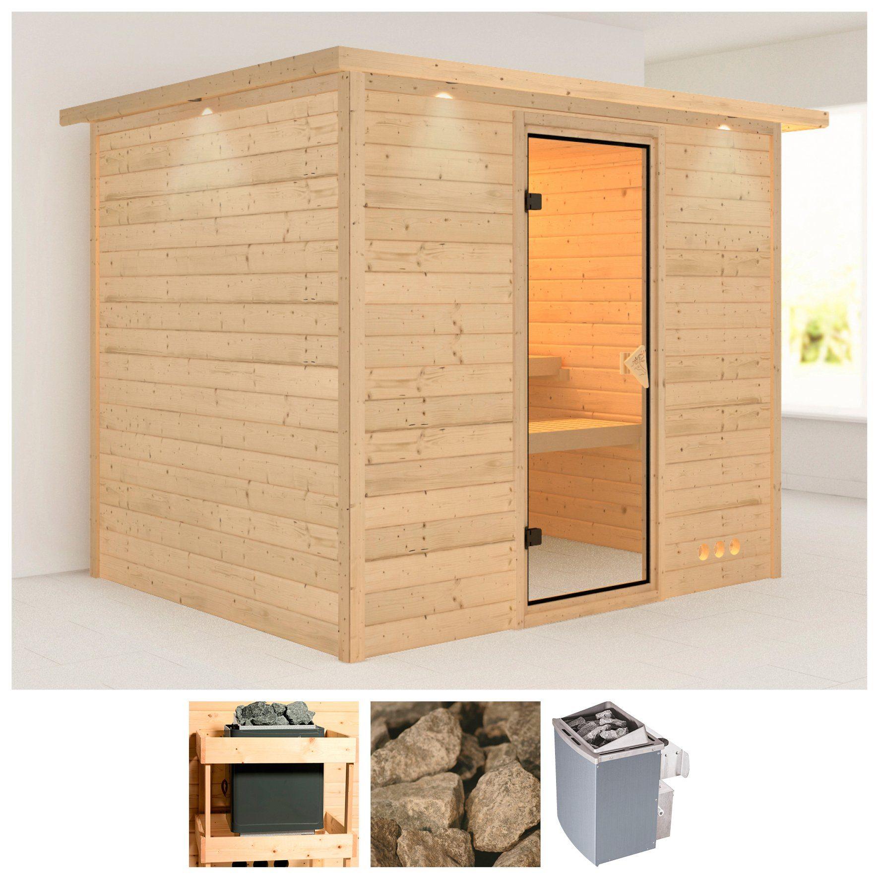 KARIBU Sauna »Karla«, 231/196/200 cm, 38 mm, 9-kW-Ofen mit int. Steuerung