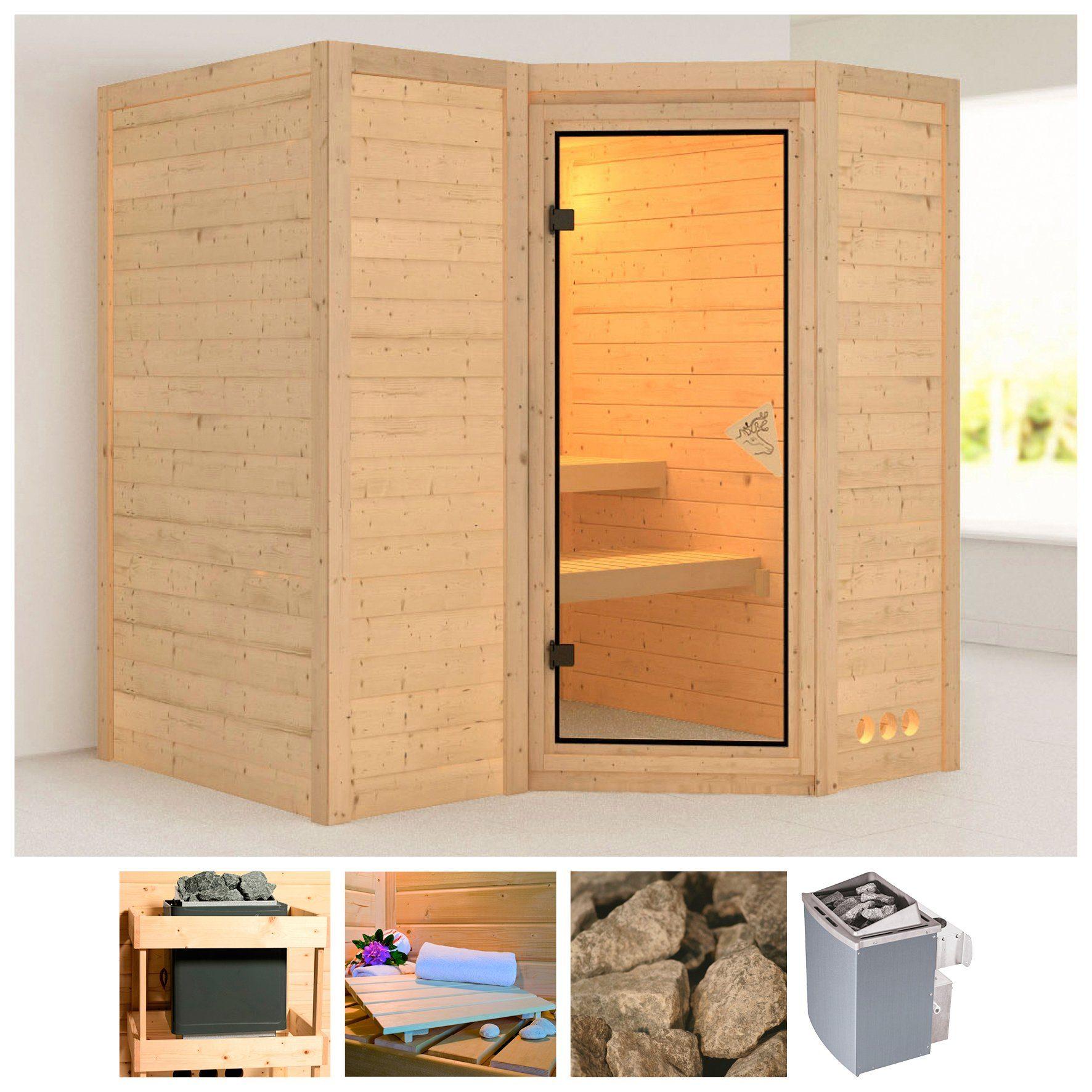 KARIBU Sauna »Sahib 1«, 193/184/206 cm, 40 mm, 9-kW-Ofen mit int. Steuerung