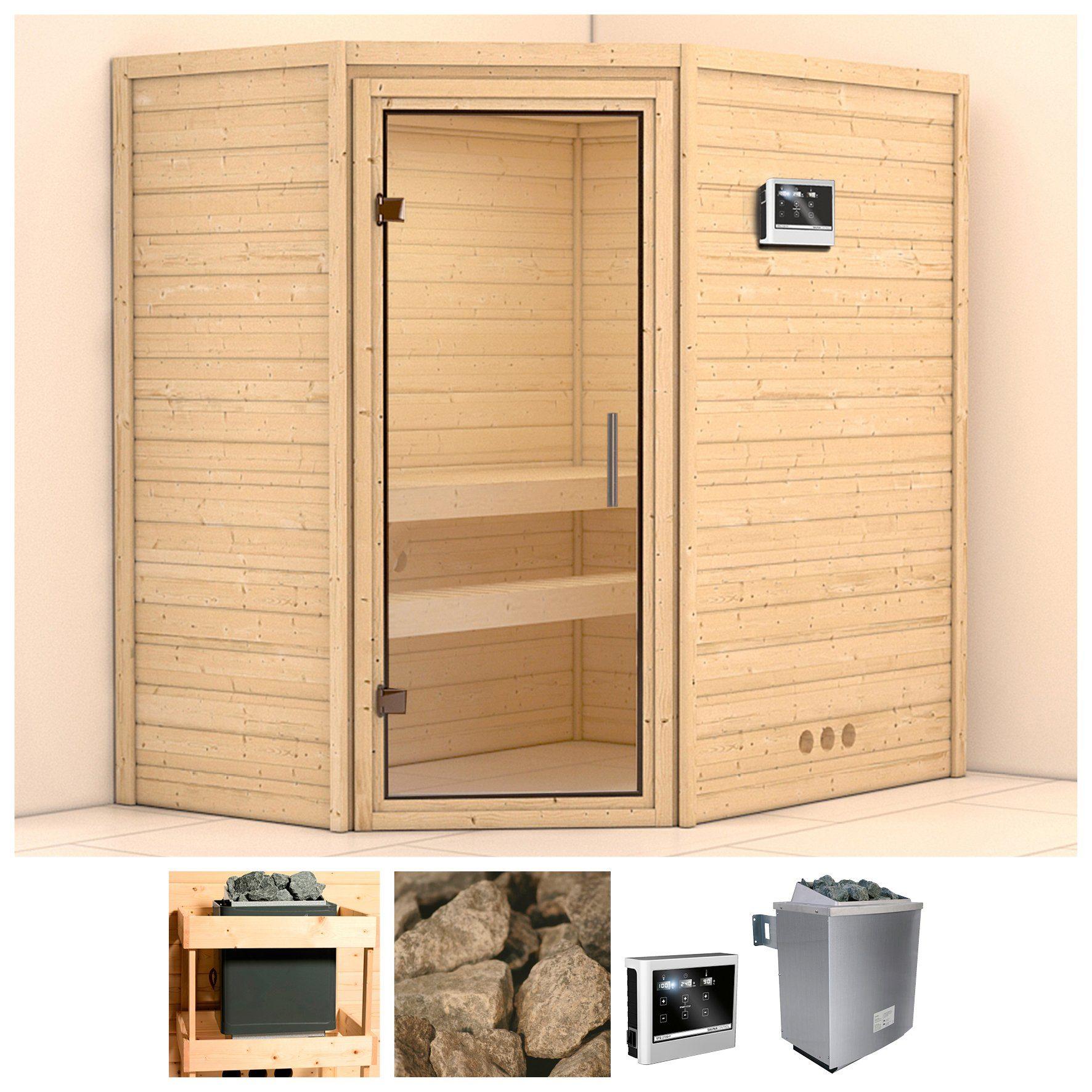 KONIFERA Sauna »Svea«, 196/146/200 cm, 9-kW-Ofen mit ext. Steuerung, Glastür klar