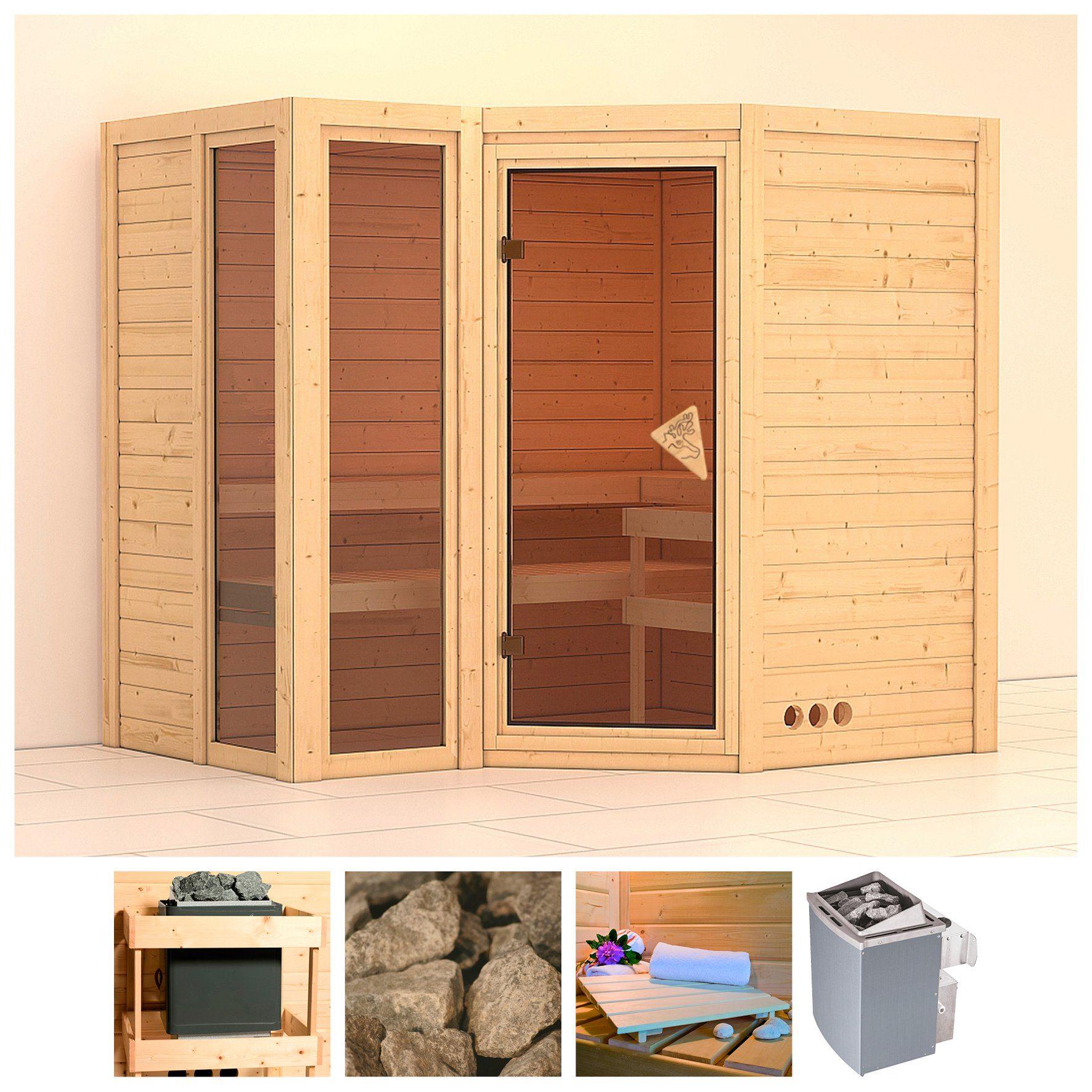 KARIBU Sauna »Amara«, 236/184/206 cm, 40 mm, 9-kW-Ofen mit int. Steuerung