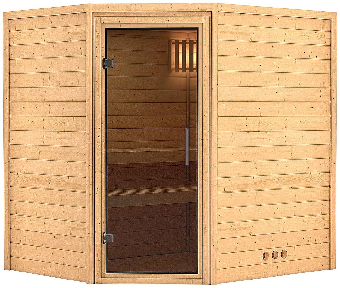 KARIBU Sauna »Mia«, 196/170/200 cm, ohne Ofen, Glastür grafit