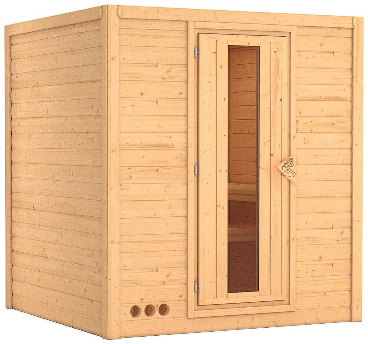 KARIBU Sauna »Mojave«, 193/184/209 cm, 9-kW-Ofen mit int. Steuerung, Holztür