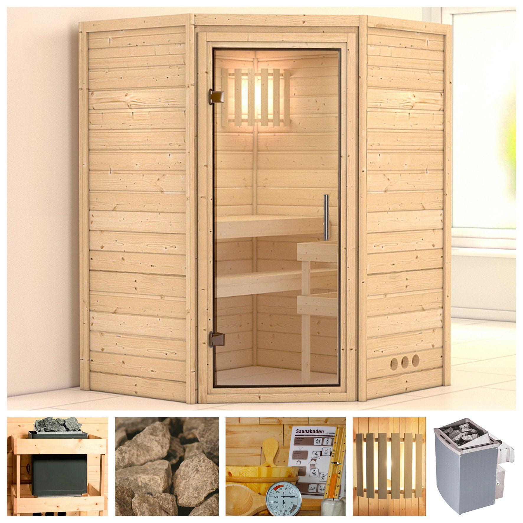 KONIFERA Sauna »Franka«, 144/144/200 cm, 9-kW-Ofen mit int. Steuerung, Glastür klar