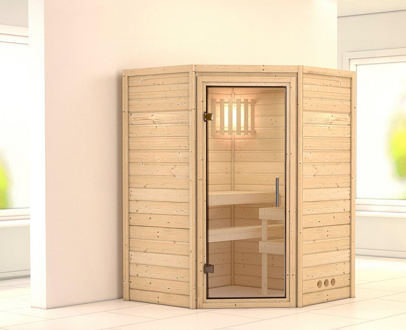 KARIBU Sauna »Franka«, 144/144/200 cm, 9-kW-Ofen mit int. Steuerung, Glastür klar