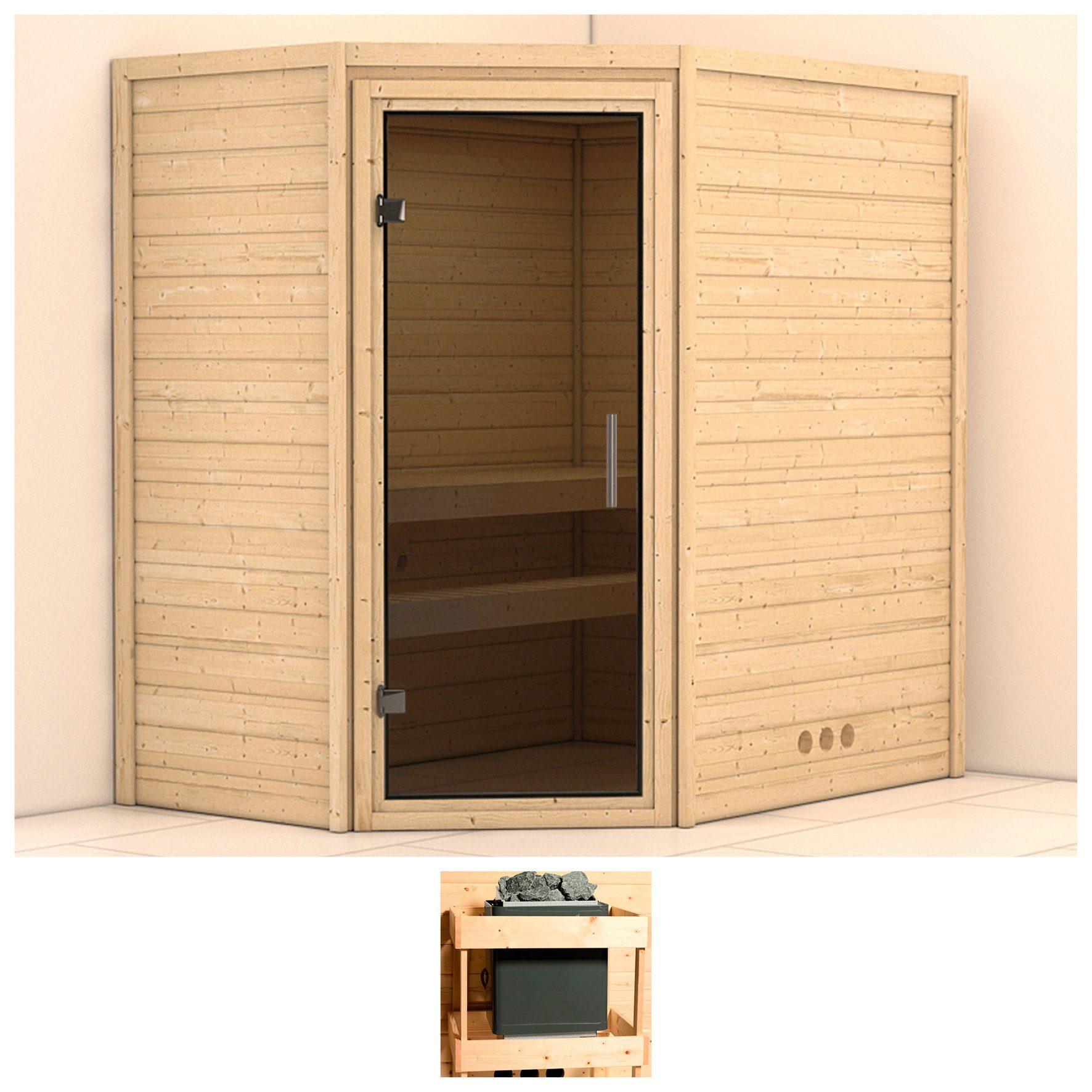KONIFERA Sauna »Svea«, 196/146/200 cm, ohne Ofen, Glastür grafit