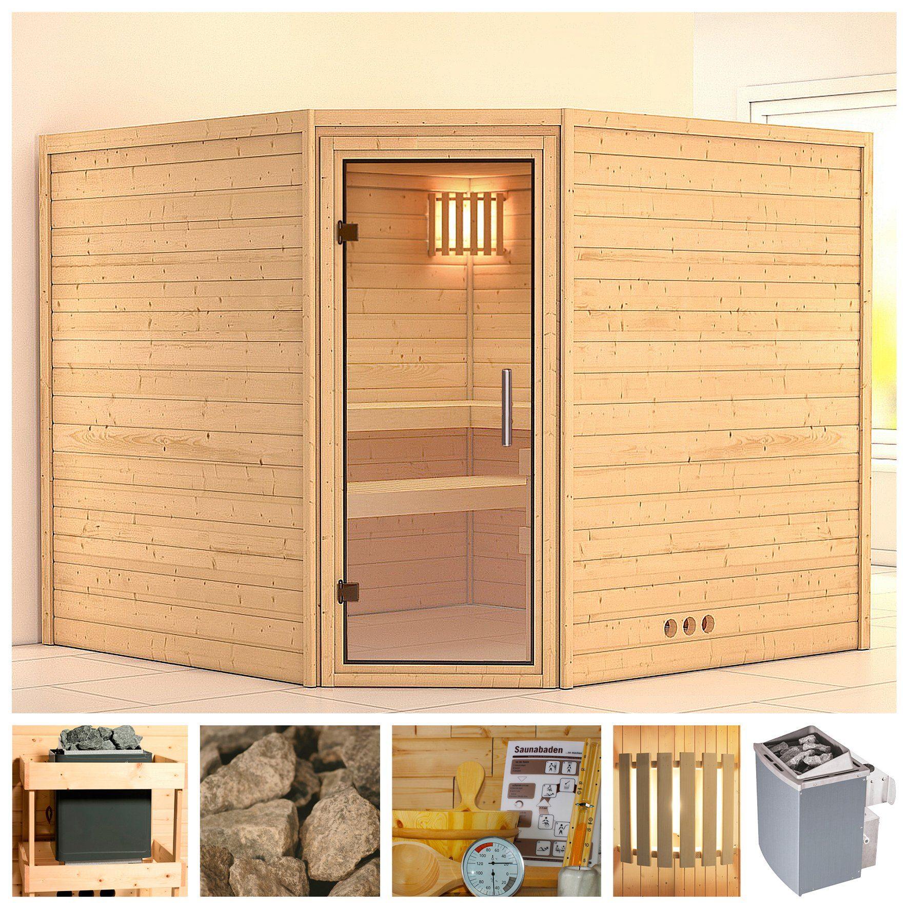 KONIFERA Sauna »Leona«, 231/231/200 cm, 9-kW-Ofen mit int. Steuerung, Glastür klar