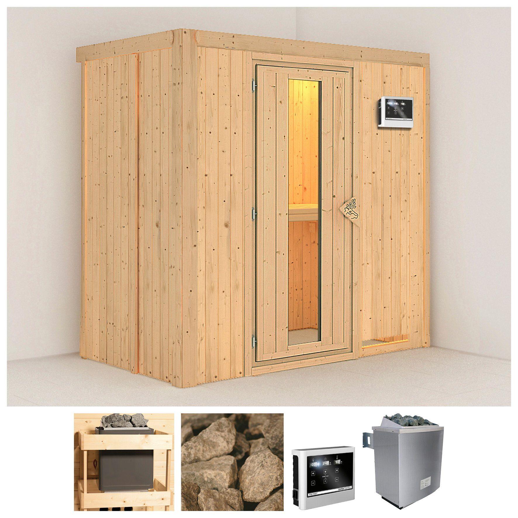 KONIFERA Sauna »Variado«, 196/118/198 cm, 9-kW-Ofen mit ext. Steuerung, Holztür