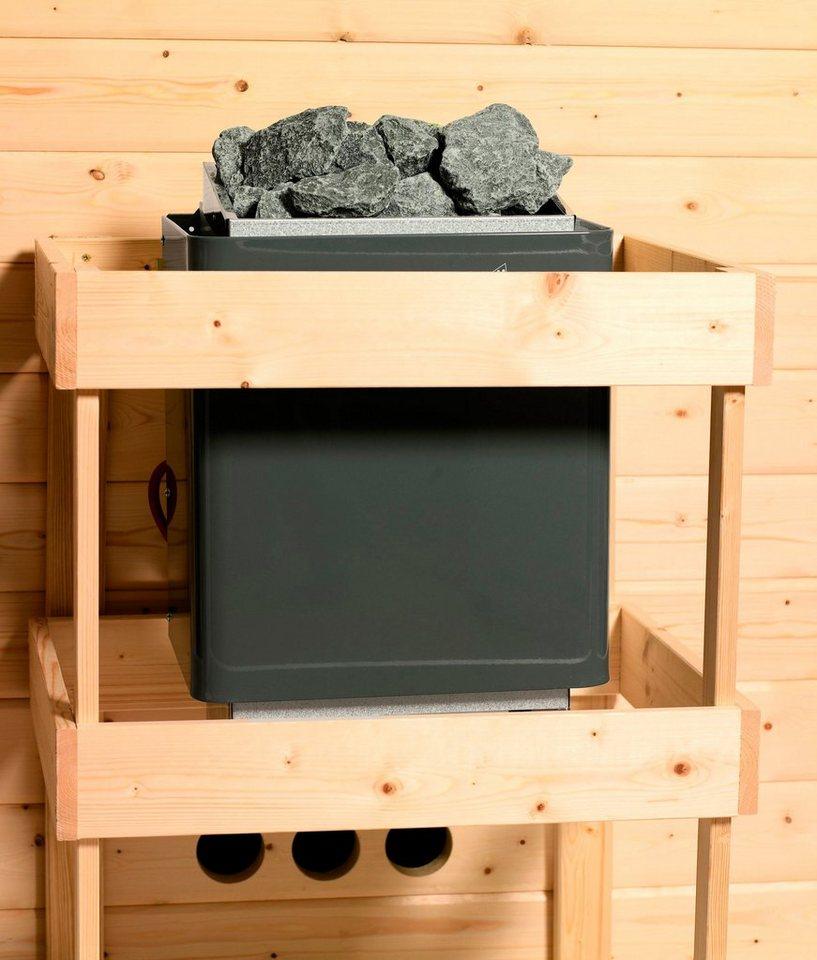 KARIBU Sauna »Mia«, 196/170/200 cm, 9-kW-Ofen mit int. Steuerung, Glastür grafit