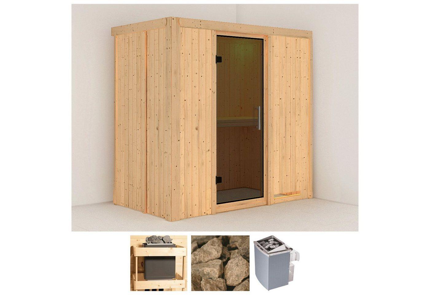 KONIFERA Sauna »Variado«, 196/118/198 cm, 9-kW-Ofen mit int. Steuerung, Glastür grafit   Bad > Sauna & Zubehör > Saunen   Edelstahl   KONIFERA