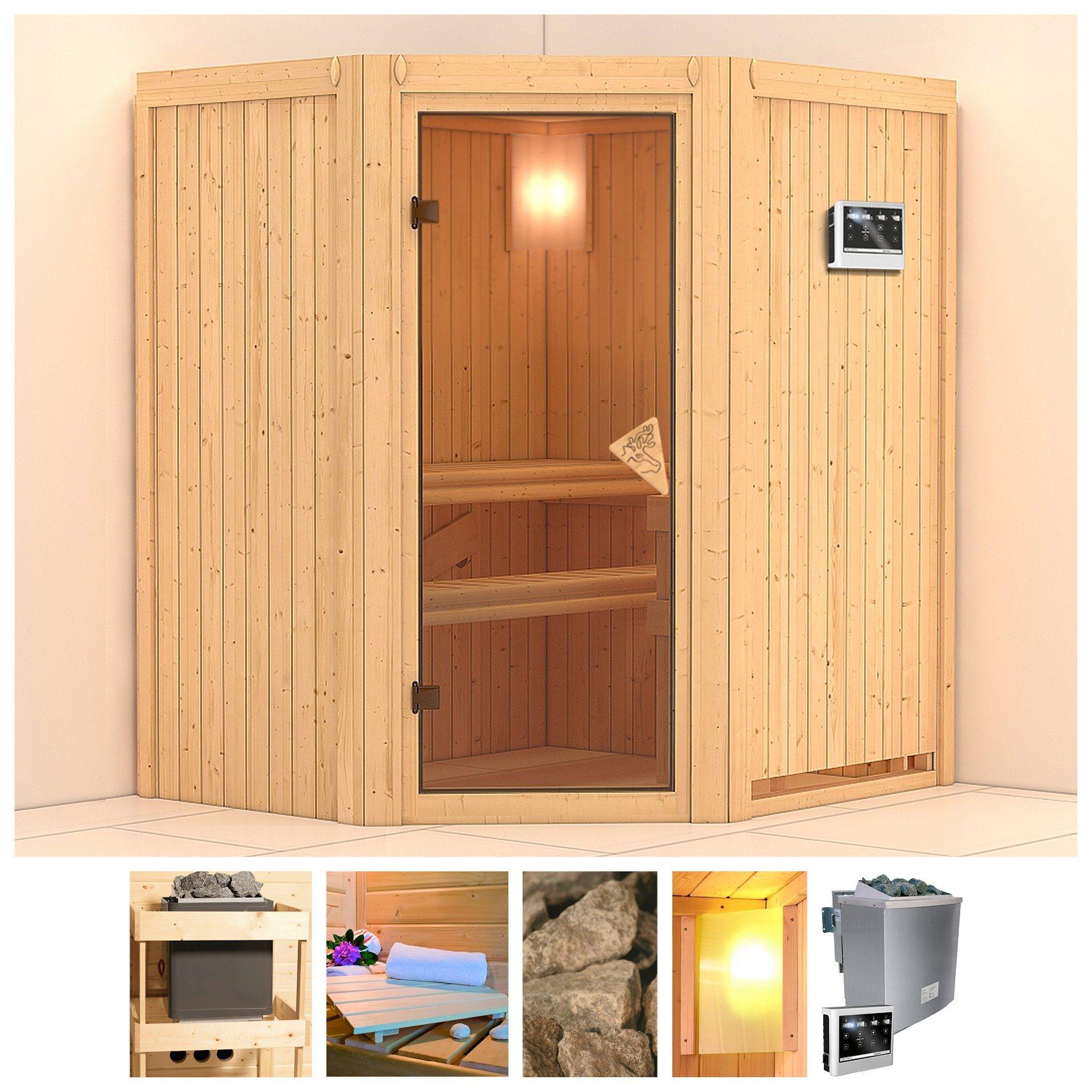 Sauna »Taurin«, 170/151/202 cm, 68 mm, 9-kW-Bio-Kombiofen mit ext. Steuerung