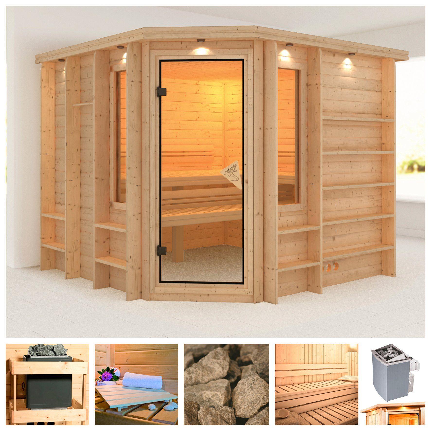 KARIBU Sauna »Marona«, 264/253/253 cm, 40 mm, 9-kW-Ofen mit int. Steuerung