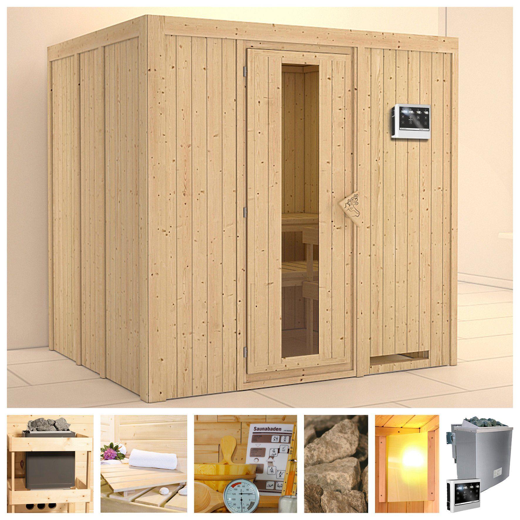 KONIFERA Sauna »Sodin«, 196/170/198 cm, 9-kW-Bio-Ofen mit ext. Strg., Holztür