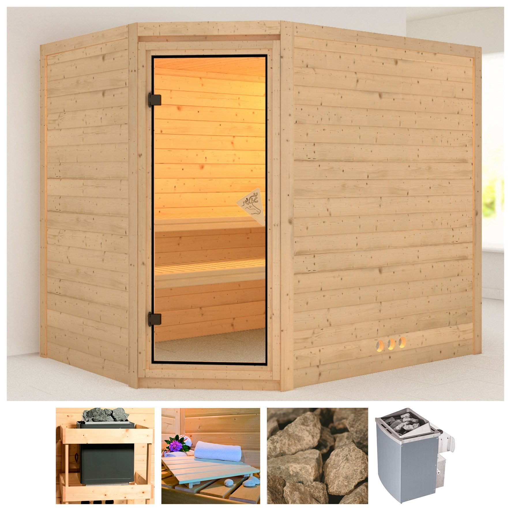 KARIBU Sauna »Tanami«, 236/184/209 cm, 40 mm, 9-kW-Ofen mit int. Steuerung