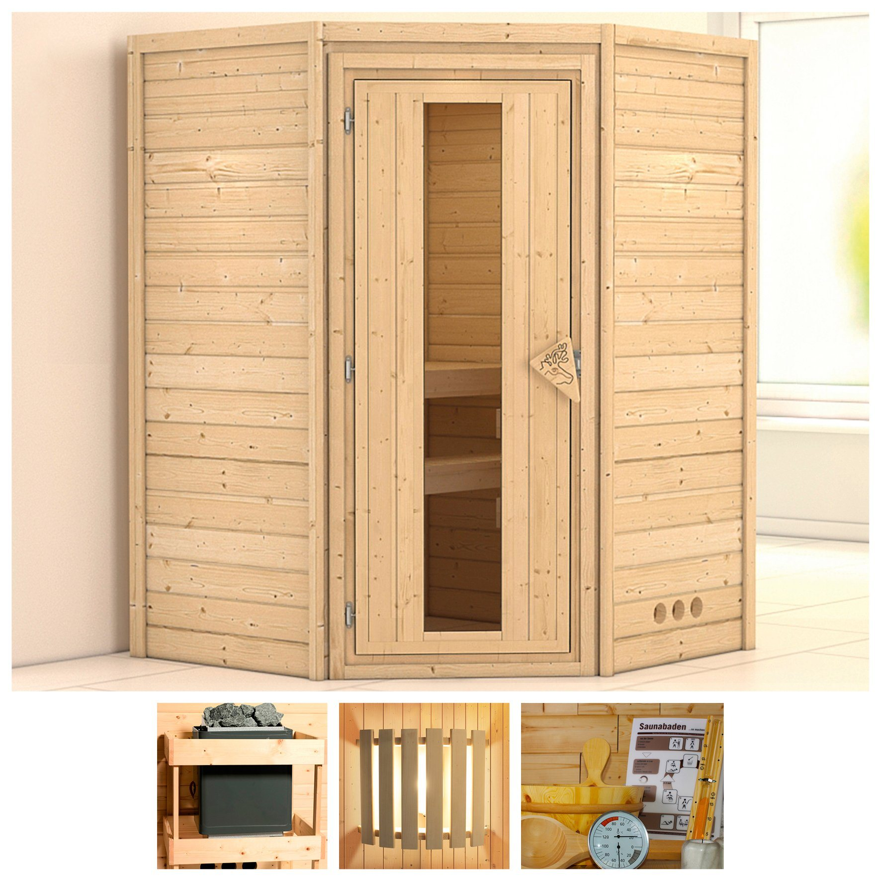 KONIFERA Sauna »Franka«, 144/144/200 cm, ohne Ofen, Holztür | Bad | KONIFERA