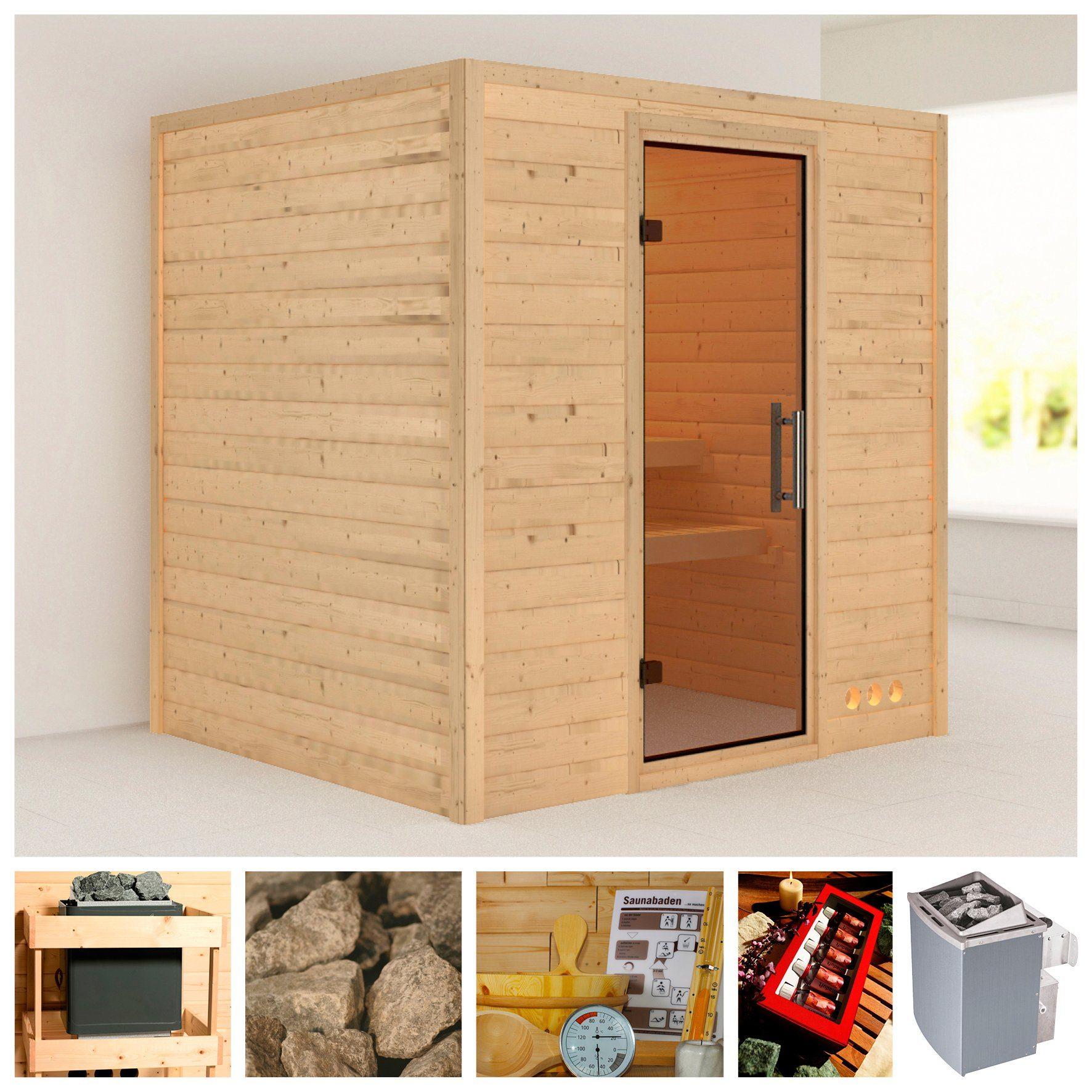 KARIBU Sauna »Adina«, 196/170/187 cm, 38 mm, 9-kW-Ofen mit int. Steuerung