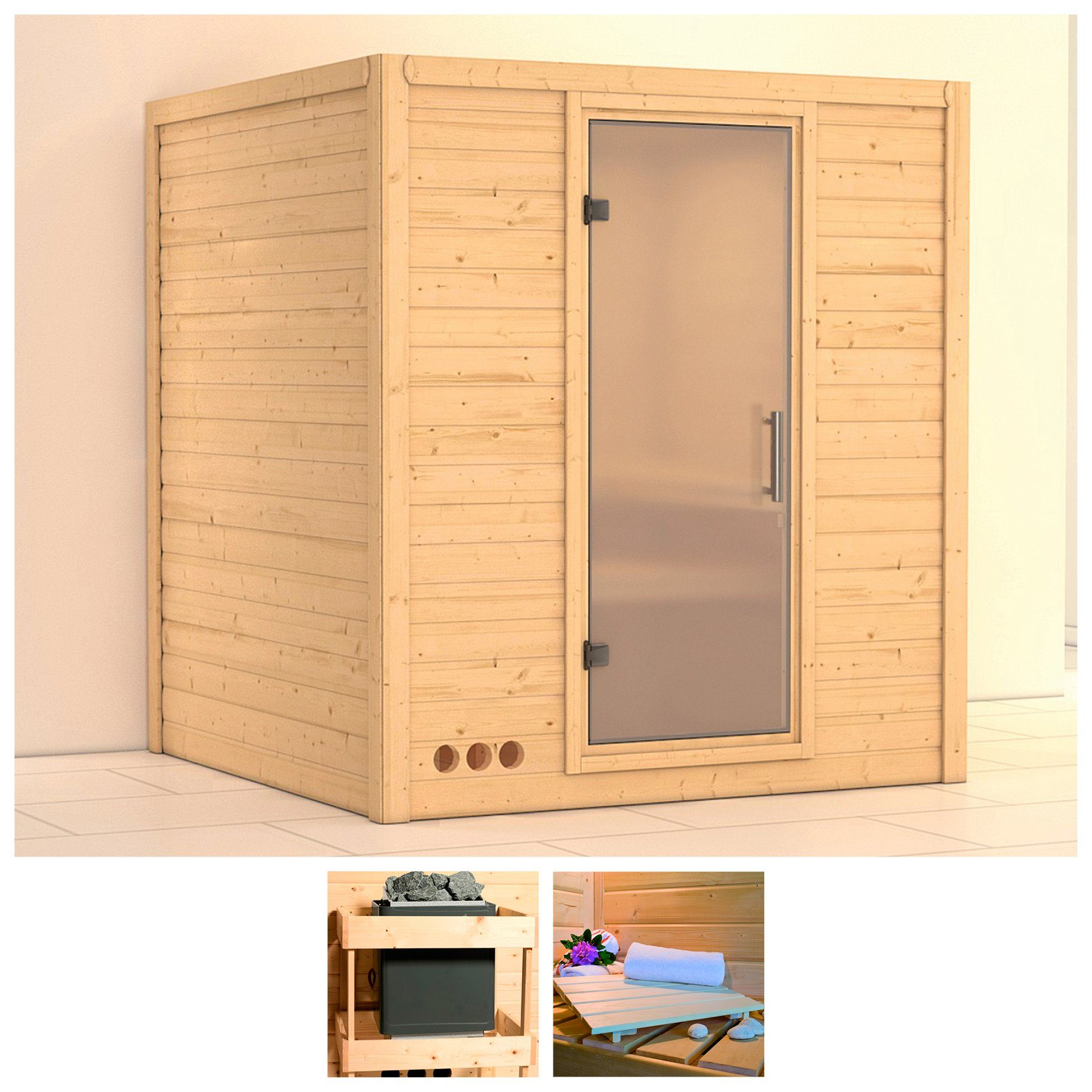 KONIFERA Sauna »Mojave«, 193/184/209 cm, ohne Ofen, Glastür satiniert