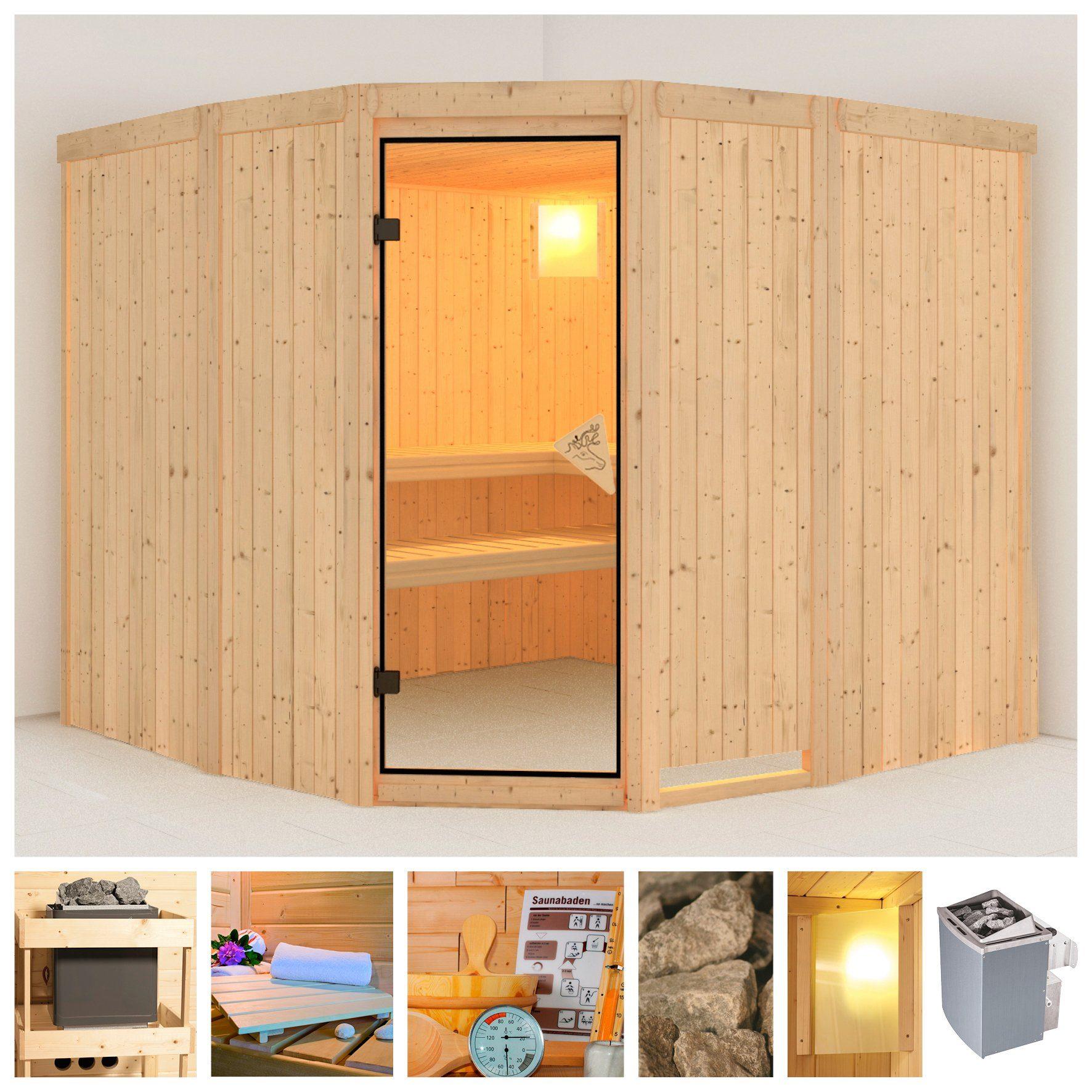 KONIFERA Sauna »Simara 3«, 231/231/198 cm, 68 mm, 9-kW-Ofen mit int. Steuerung