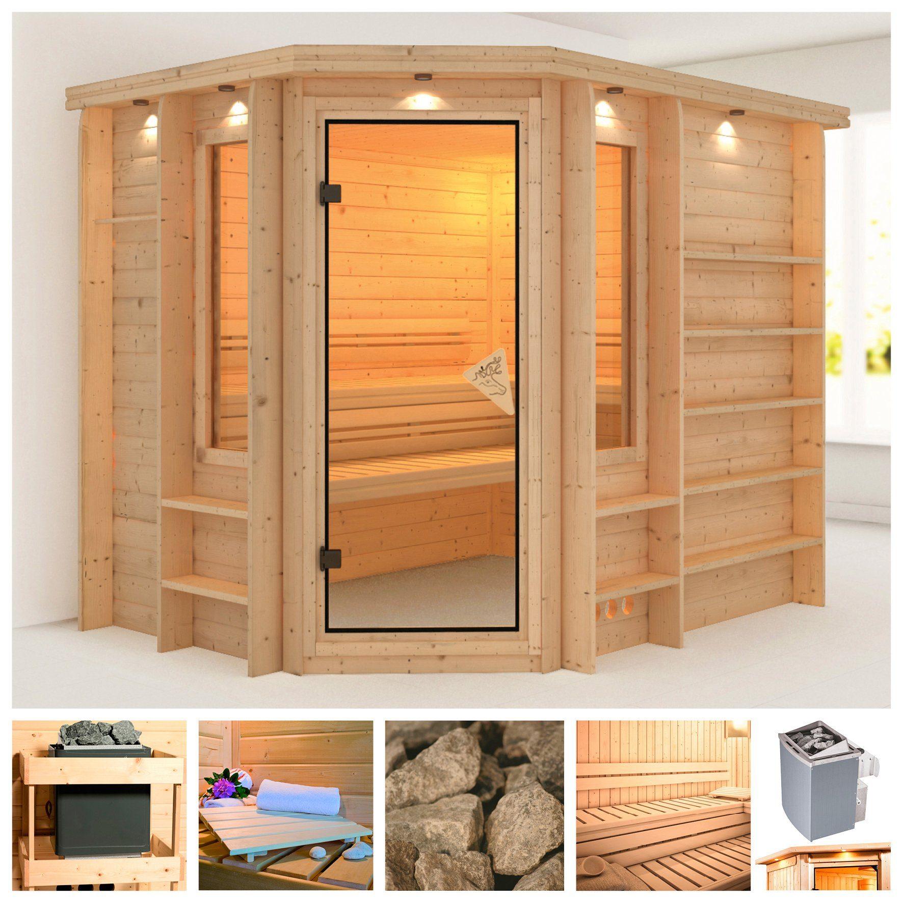 KARIBU Sauna »Riona«, 264/198/212 cm, 40 mm, 9-kW-Ofen mit int. Steuerung