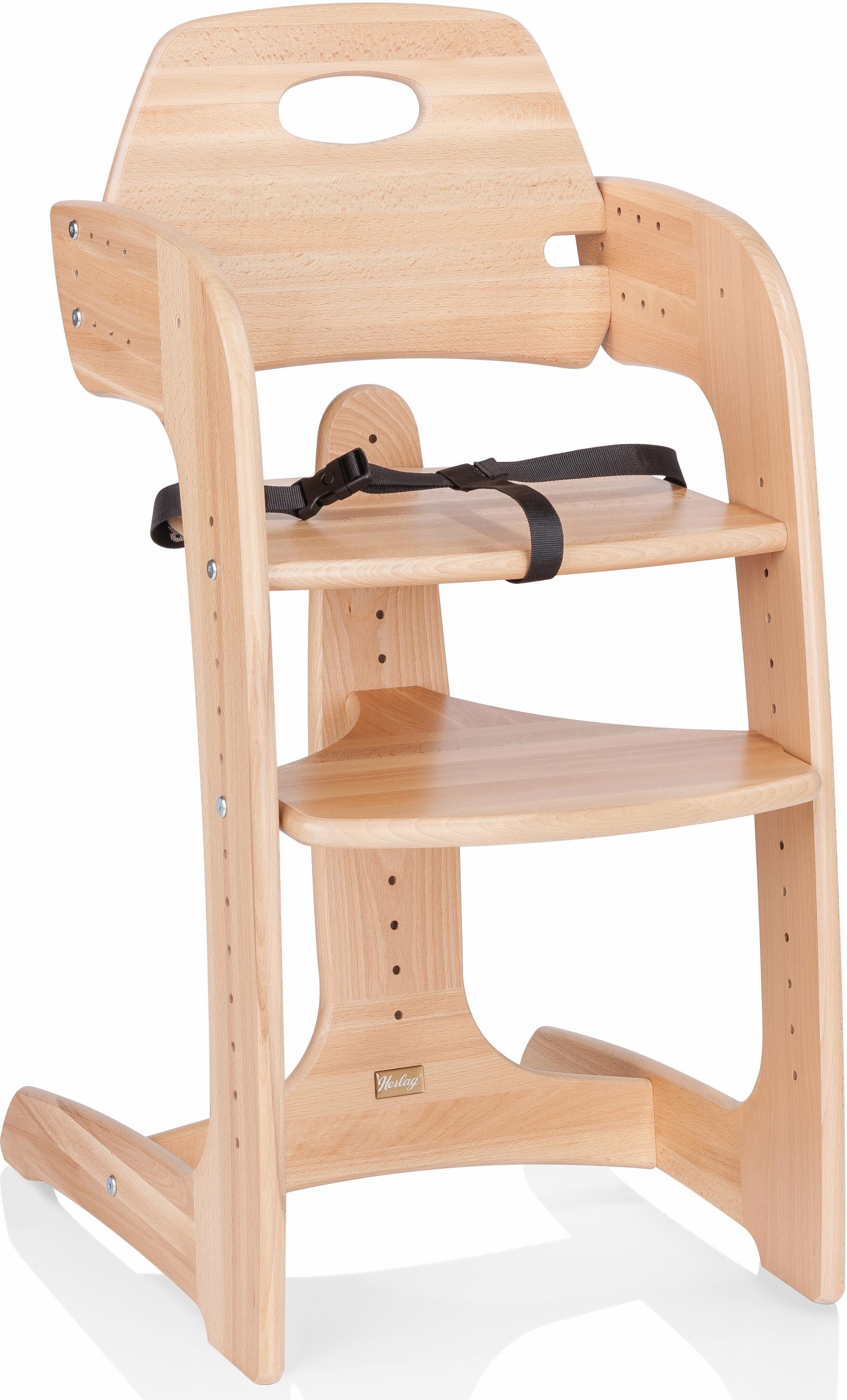 Herlag® Hochstuhl aus Holz, mit verstellb. Rückenlehne, »Tipp Topp Comfort IV, Buche massiv natur«