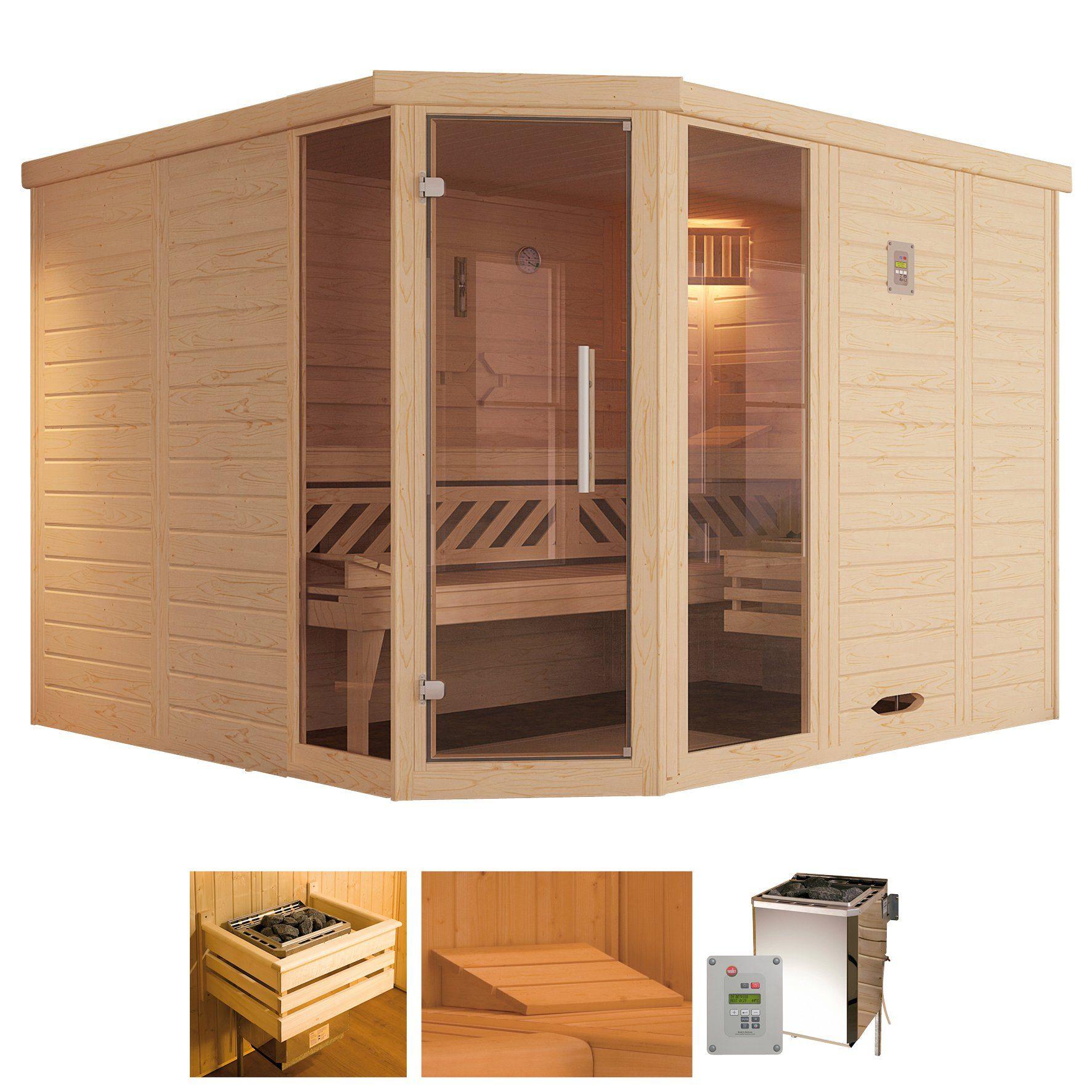 WEKA Sauna »Brevik 2«, 238x188x199 cm, 45 mm, 7,5-KW-Bio-Kombiofen