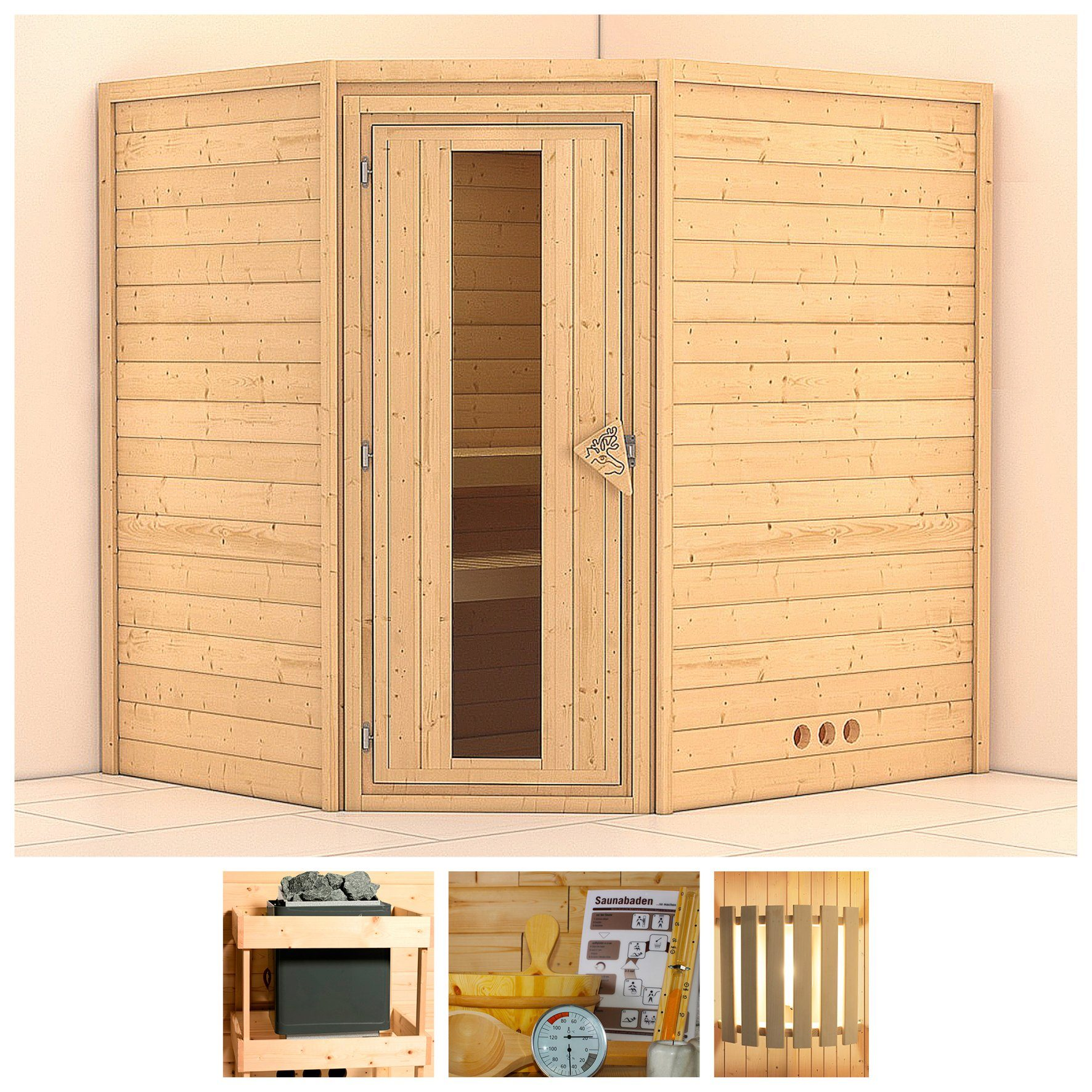KONIFERA Sauna »Mia«, 196/170/200 cm, ohne Ofen, Holztür