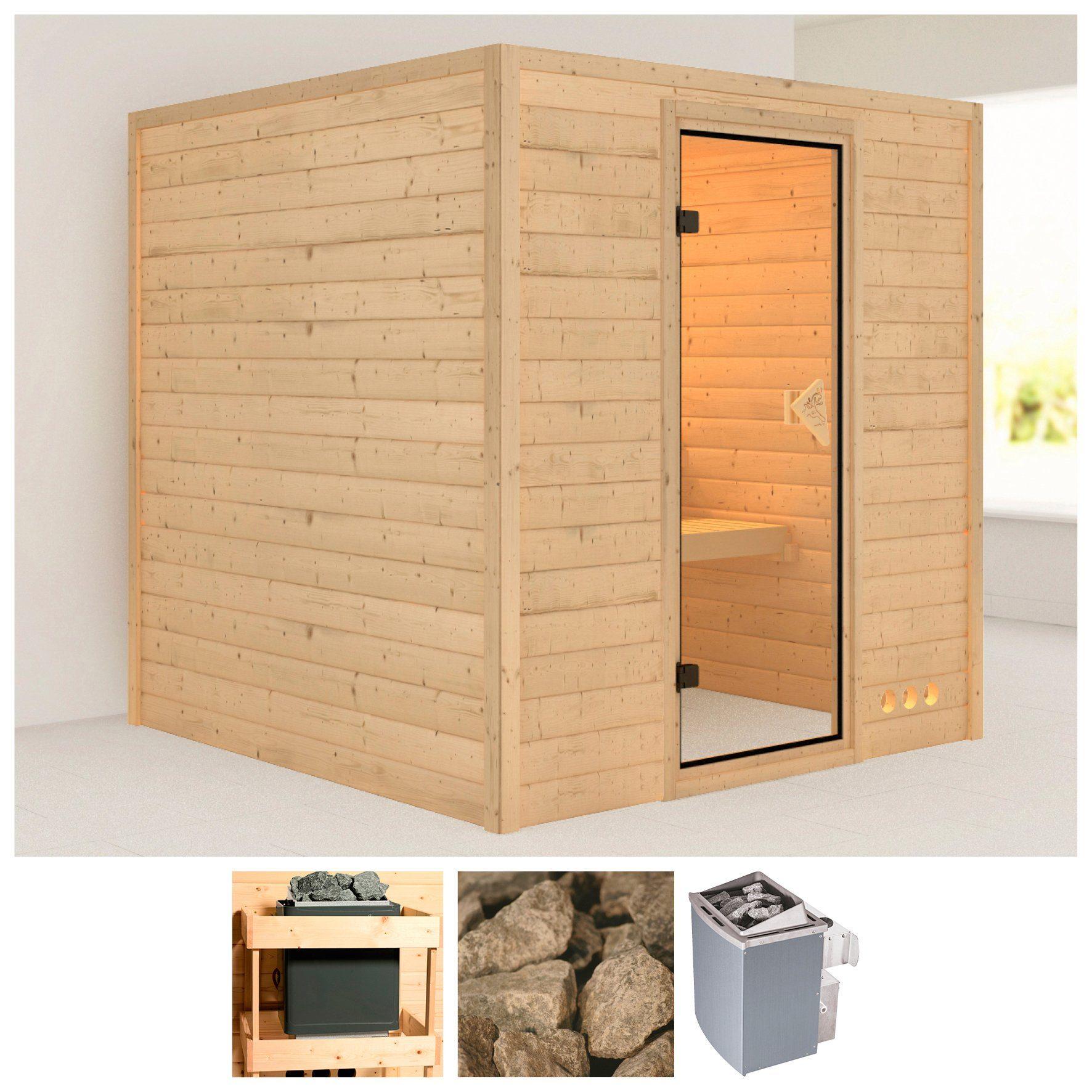 KARIBU Sauna »Nora«, 196/196/200 cm, 38 mm, 9-kW-Ofen mit int. Steuerung