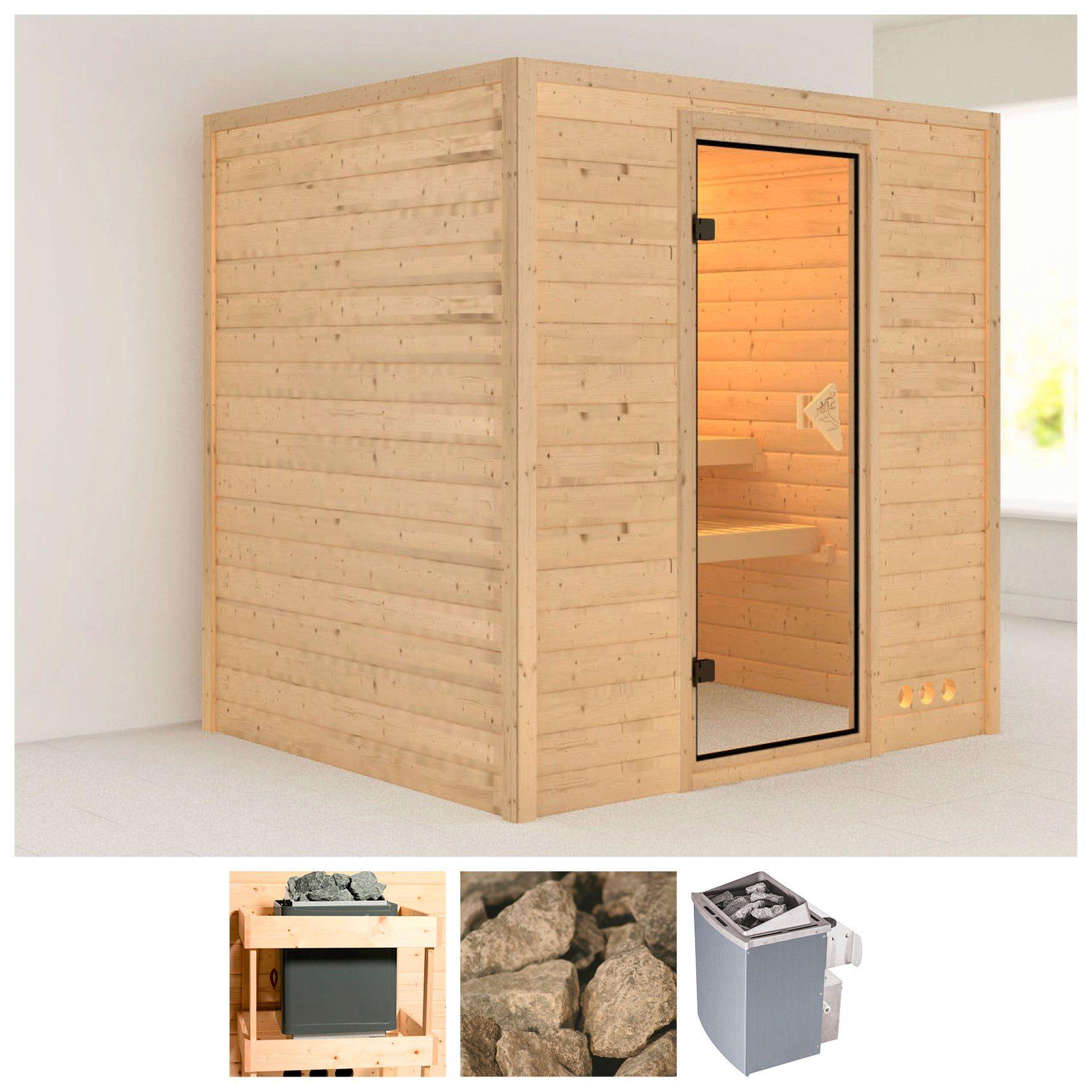 KARIBU Sauna »Anja«, 196/170/200 cm, 38 mm, 9-kW-Ofen mit int. Steuerung