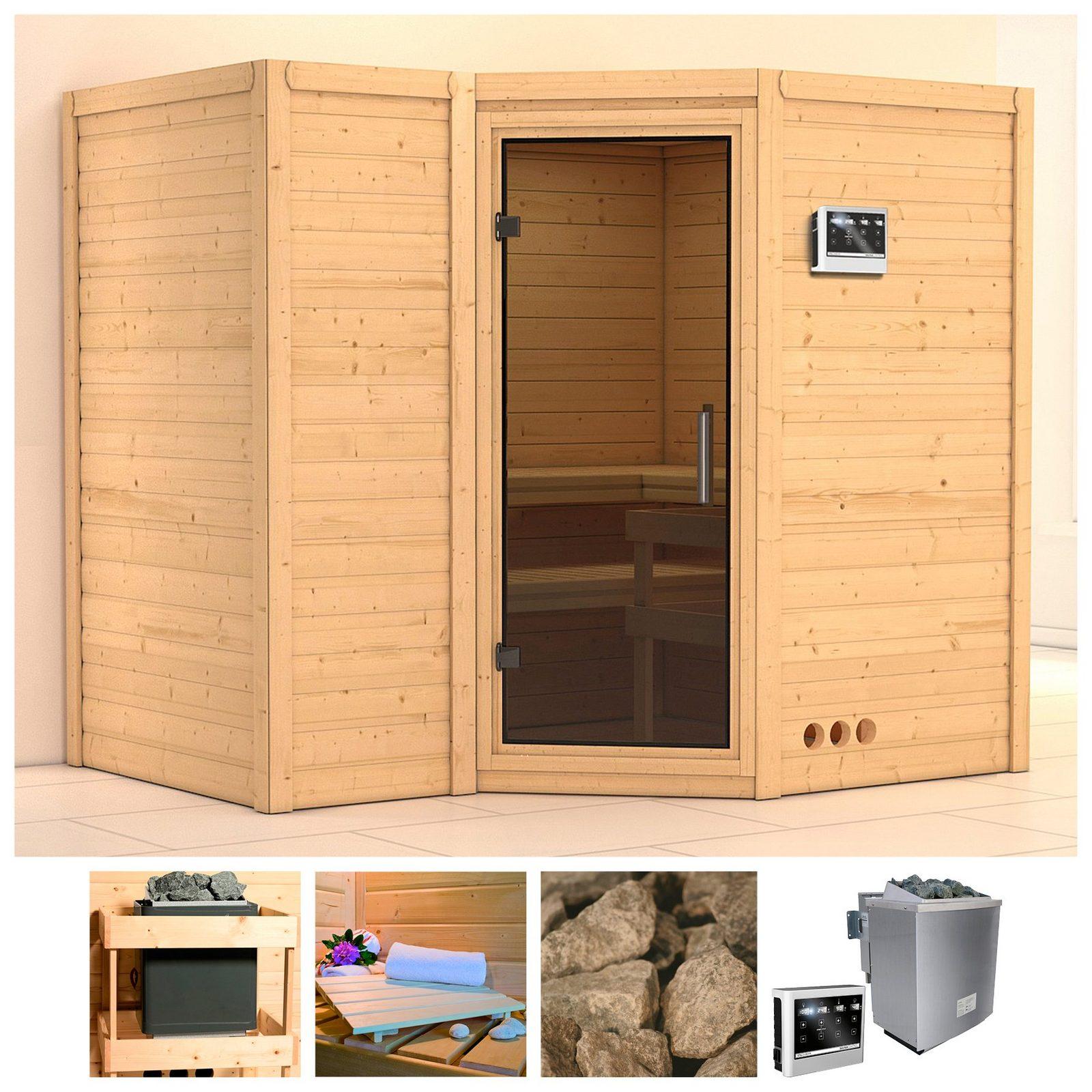 KONIFERA Sauna »Sahib 2«, 236/184/206 cm, 9-kW-Bio-Ofen mit ext. Strg., Glastür grafit