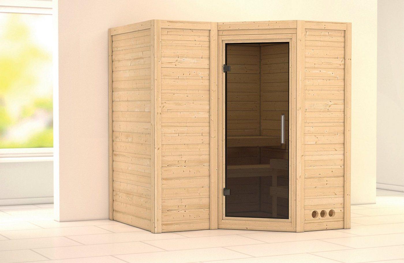 KONIFERA Sauna »Sahib 1«, 193/184/206 cm, 9-kW-Ofen mit int. Steuerung, Glastür grafit