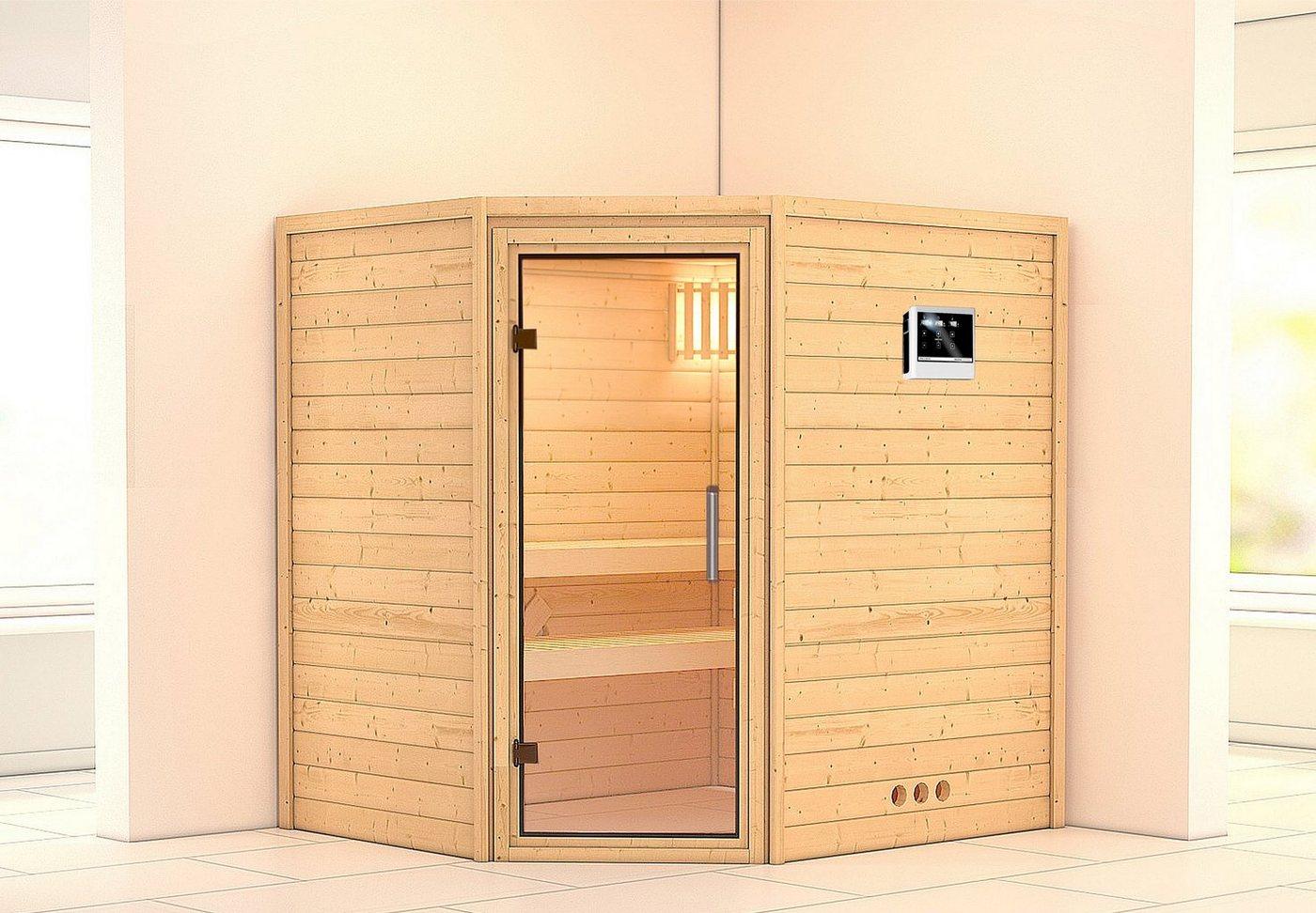 KARIBU Sauna »Mia«, 196/170/200 cm, 9-kW-Ofen mit ext. Steuerung, Glastür klar
