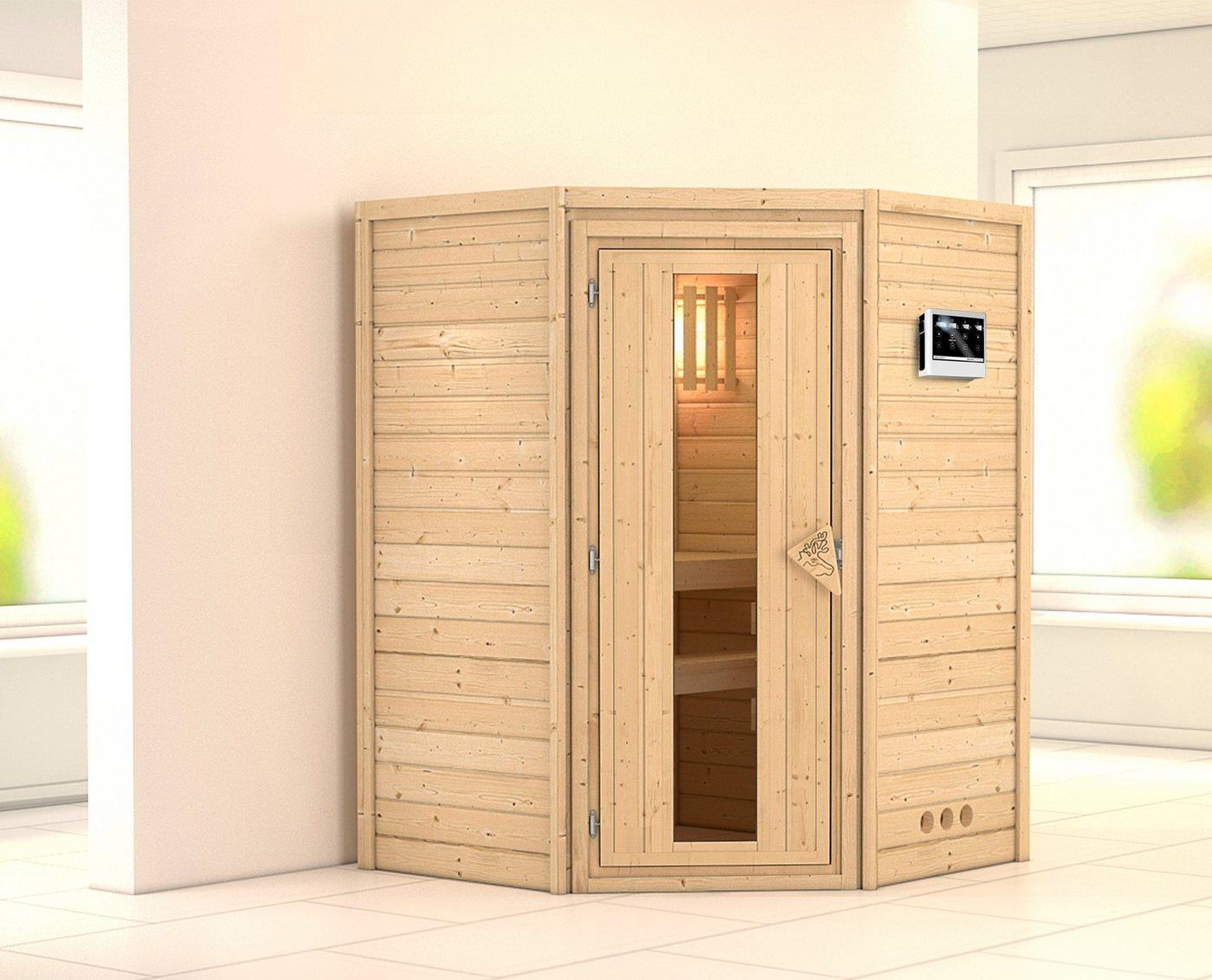 KONIFERA Sauna »Franka«, 144/144/200 cm, 9-kW-Bio-Ofen, ext. Strg., Holztür