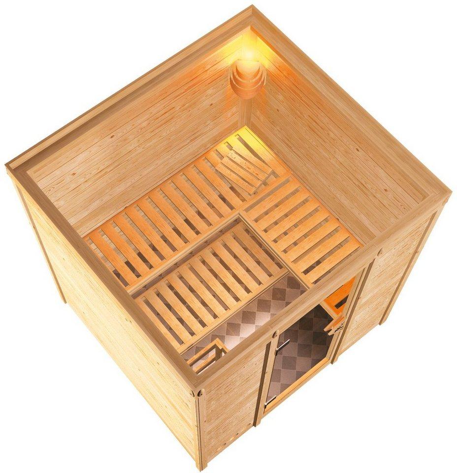 KONIFERA Sauna »Mojave«, 193/184/209 cm, 9-kW-Ofen mit int. Steuerung, Glastür grafit