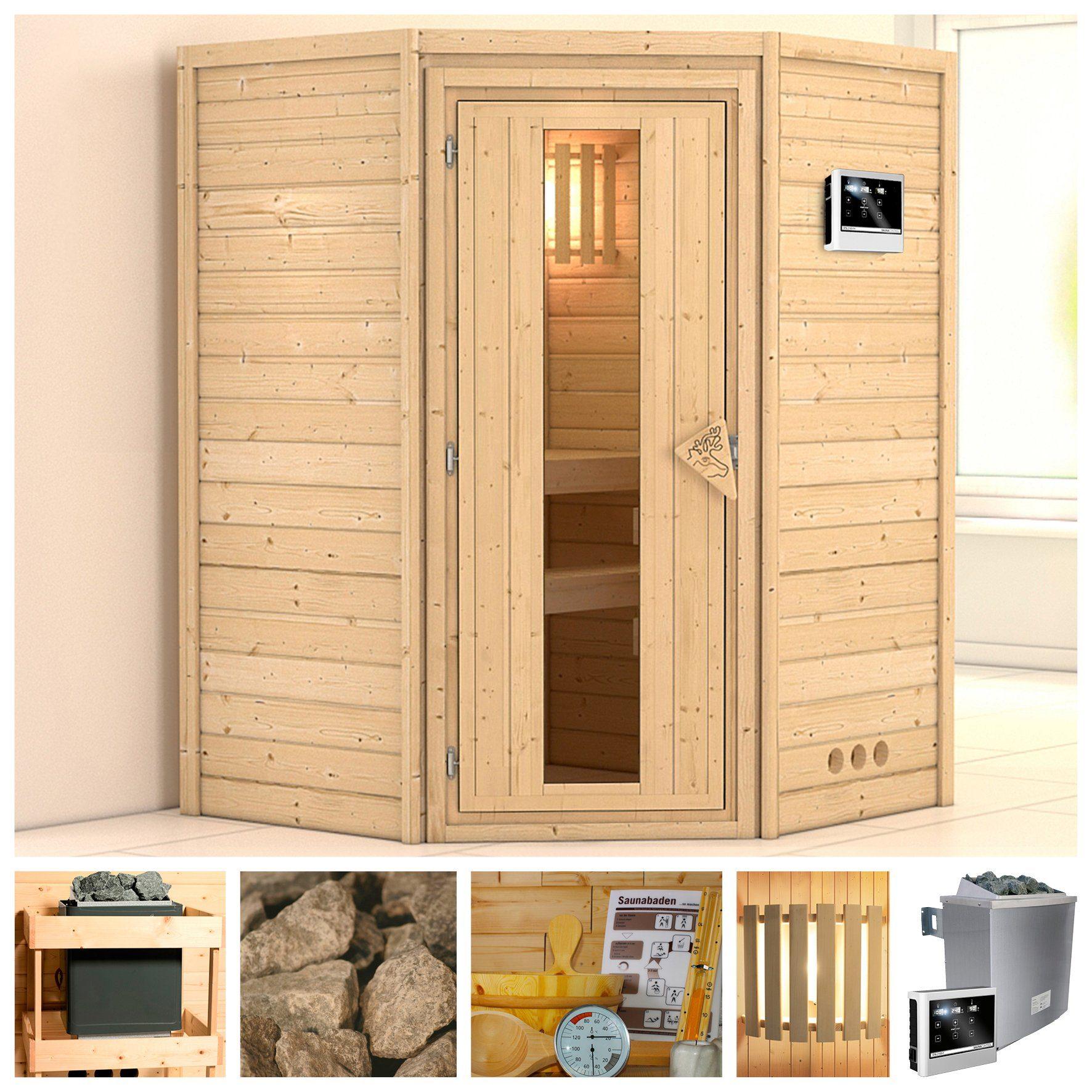 KONIFERA Sauna »Franka«, 146/146/200 cm, 9-kW-Ofen mit ext. Steuerung, Holztür