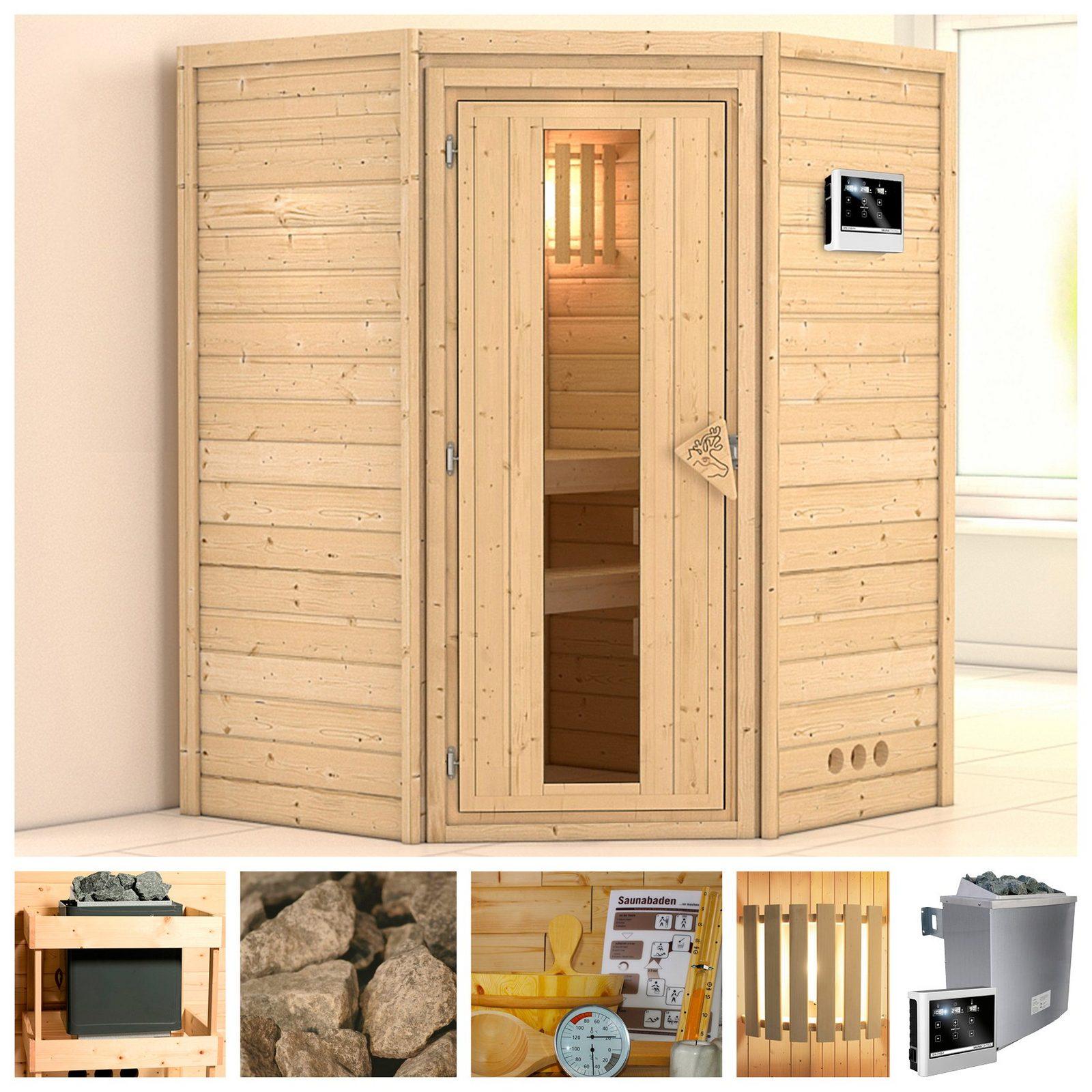 KONIFERA Sauna »Franka«, 144/144/200 cm, 9-kW-Ofen mit ext. Steuerung, Holztür