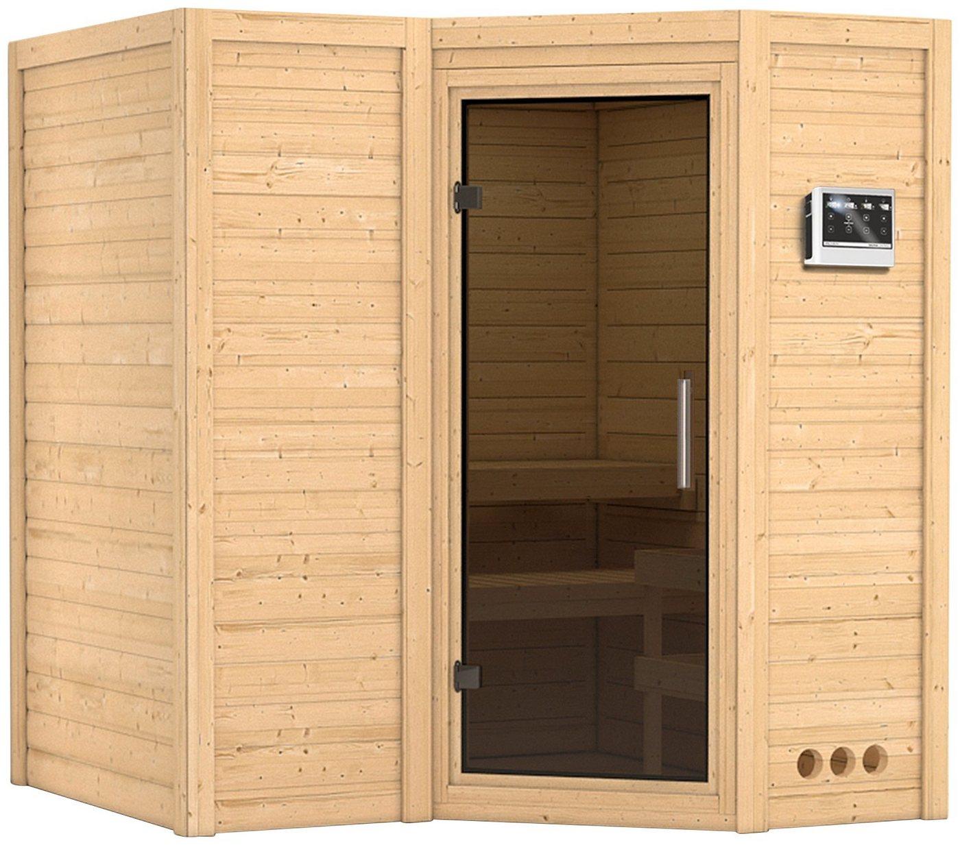 KARIBU Sauna »Sahib 1«, 193/184/206 cm, 9-kW-Bio-Ofen mit ext. Strg., Glastür grafit
